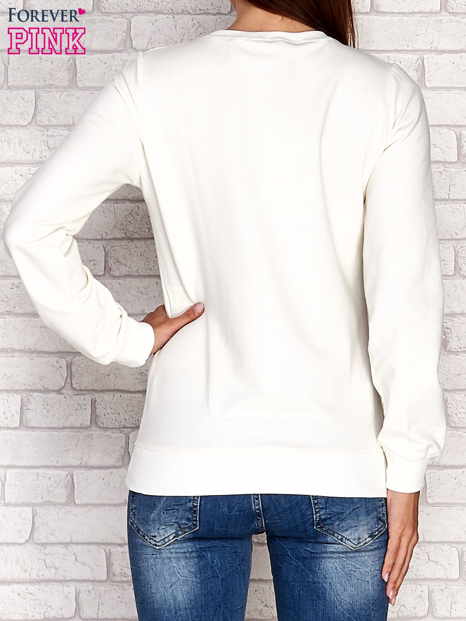 Ecru bluza z napisem CITY GIRL                                  zdj.                                  2