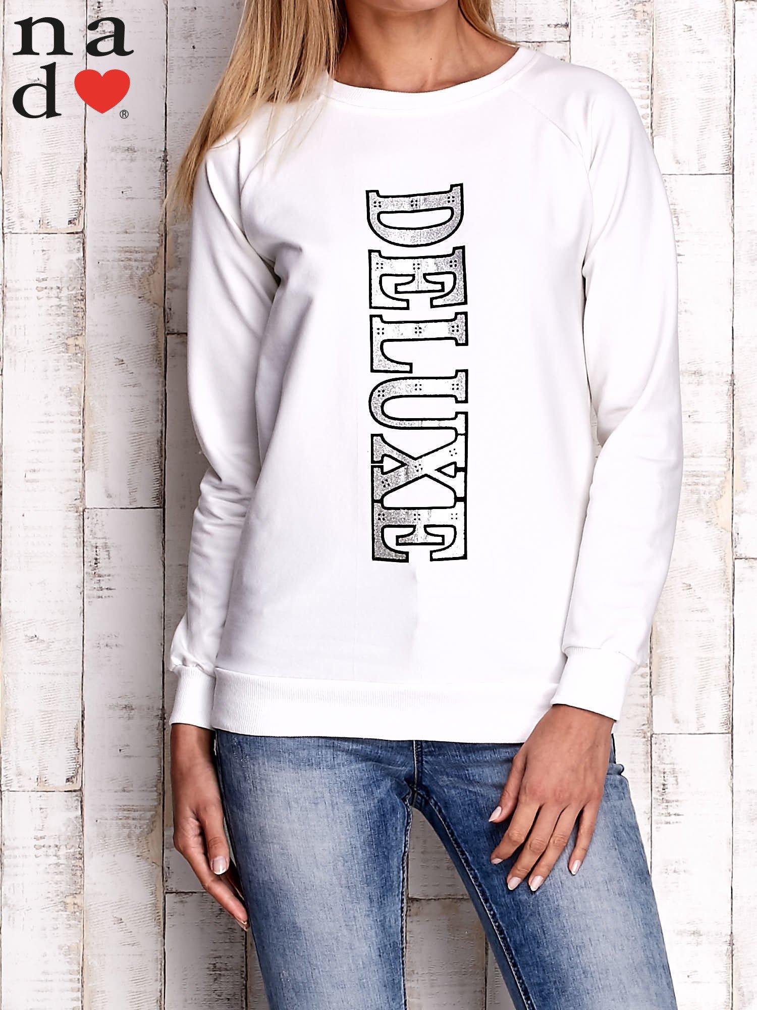 Ecru bluza z napisem DELUXE                                  zdj.                                  1
