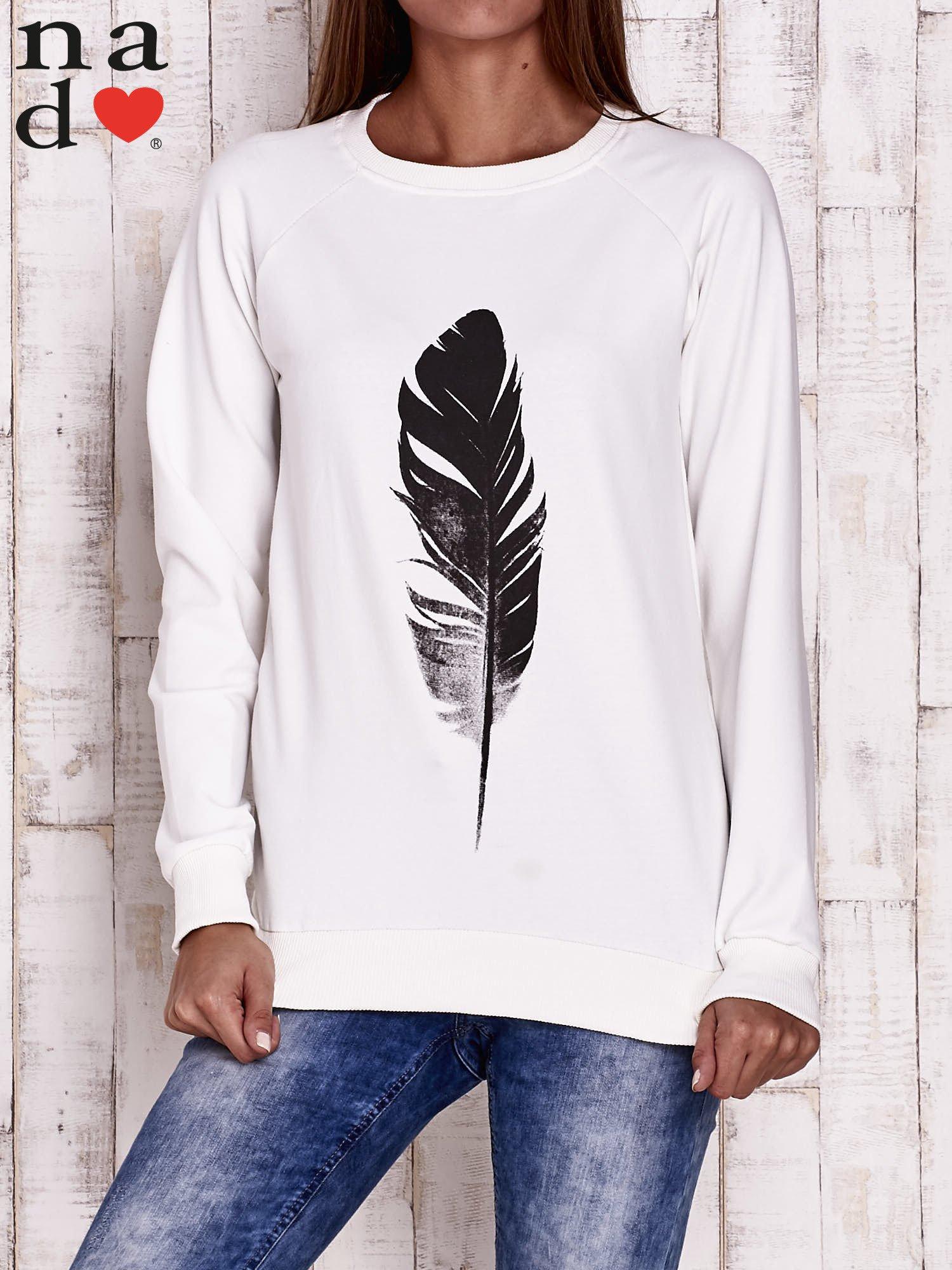 Ecru bluza z piórkiem                                  zdj.                                  1