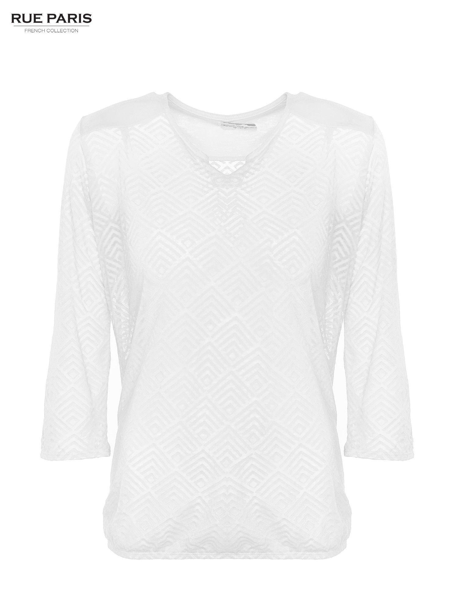 Ecru bluzka w geometryczny wzór z łezką z przodu                                  zdj.                                  1