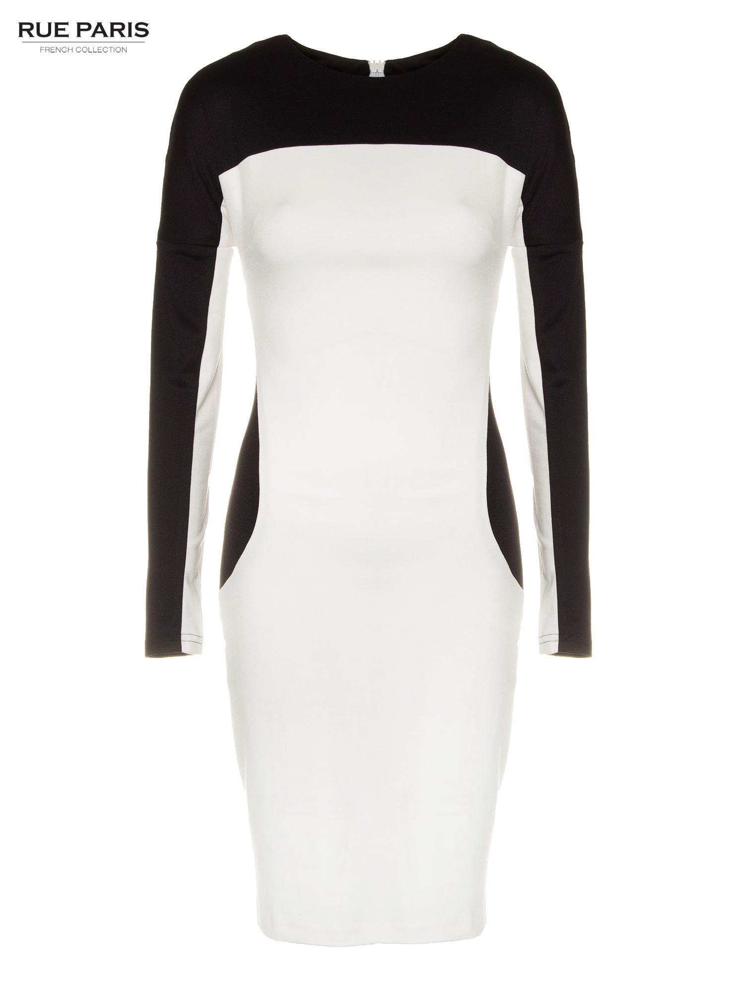 Ecru-czarna sukienka modułowa z zamkiem z tyłu                                  zdj.                                  2