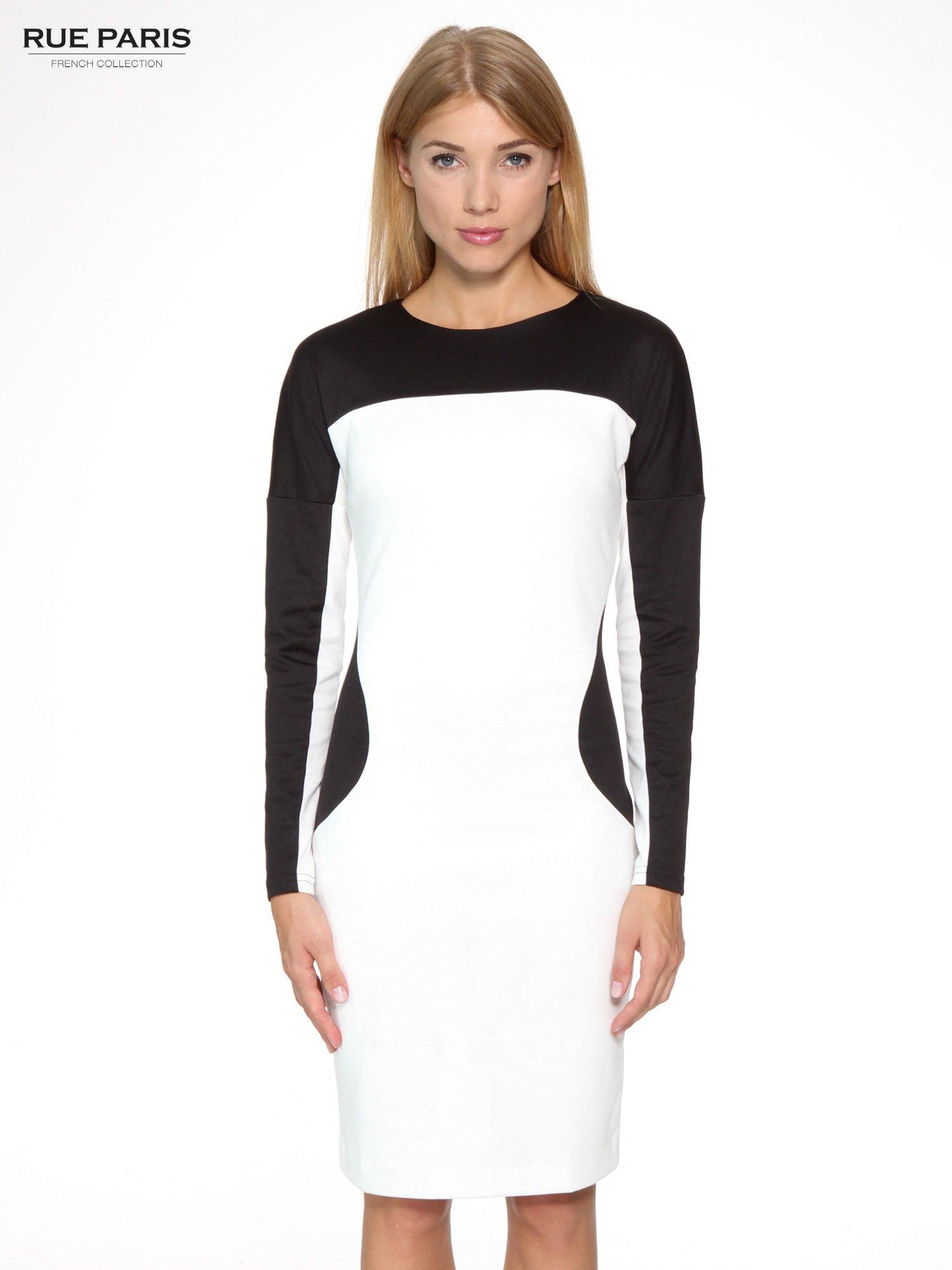 Ecru-czarna sukienka modułowa z zamkiem z tyłu                                  zdj.                                  1
