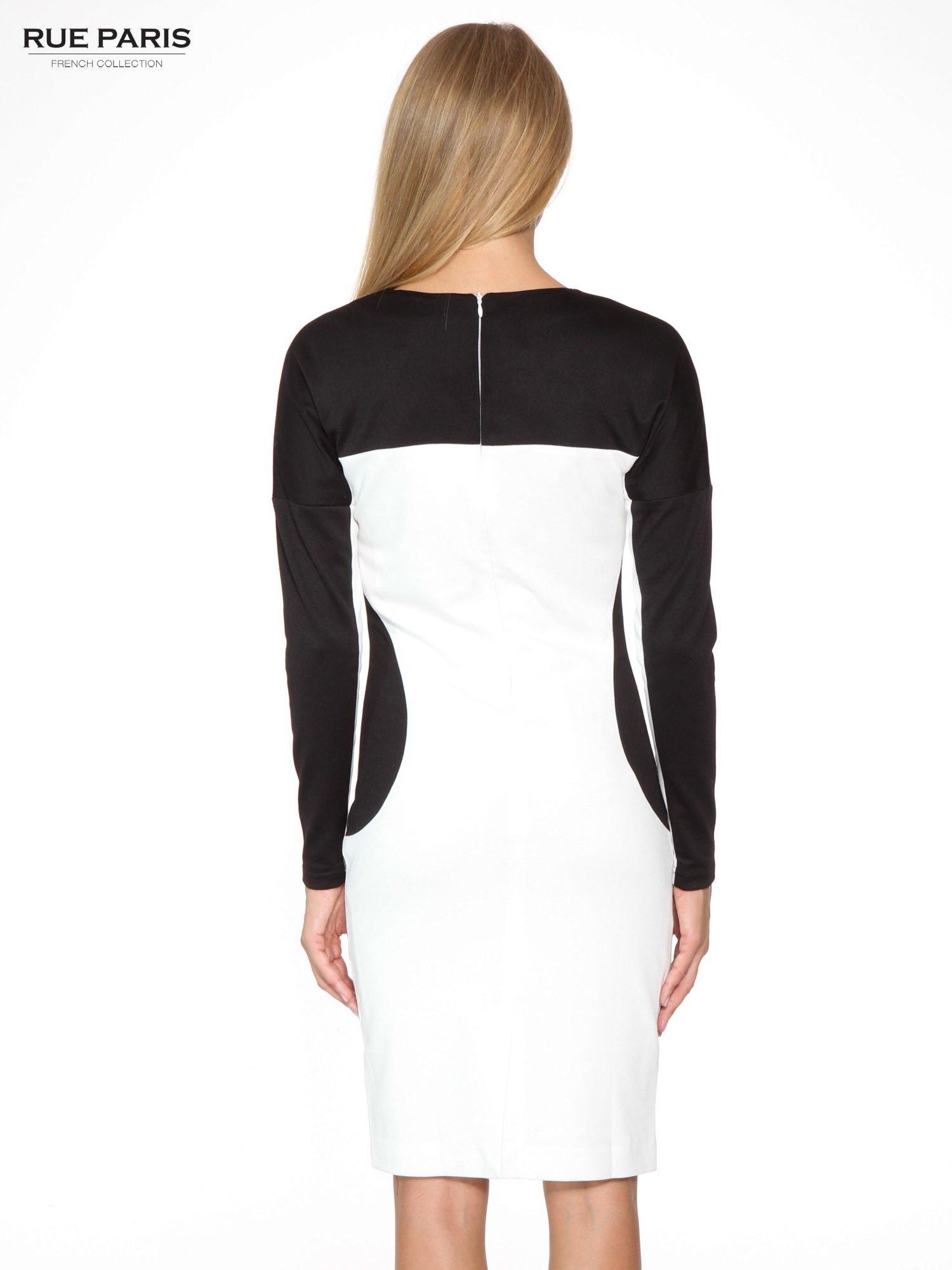 Ecru-czarna sukienka modułowa z zamkiem z tyłu                                  zdj.                                  4