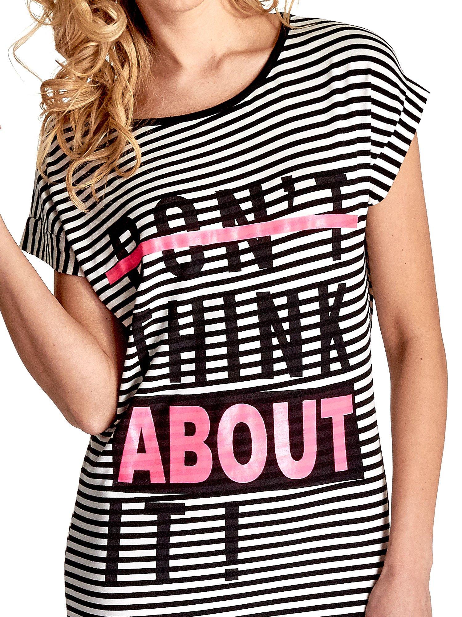 Ecru-czarna sukienka w paski z napisem I DON'T THINK ABOUT IT!                                  zdj.                                  5