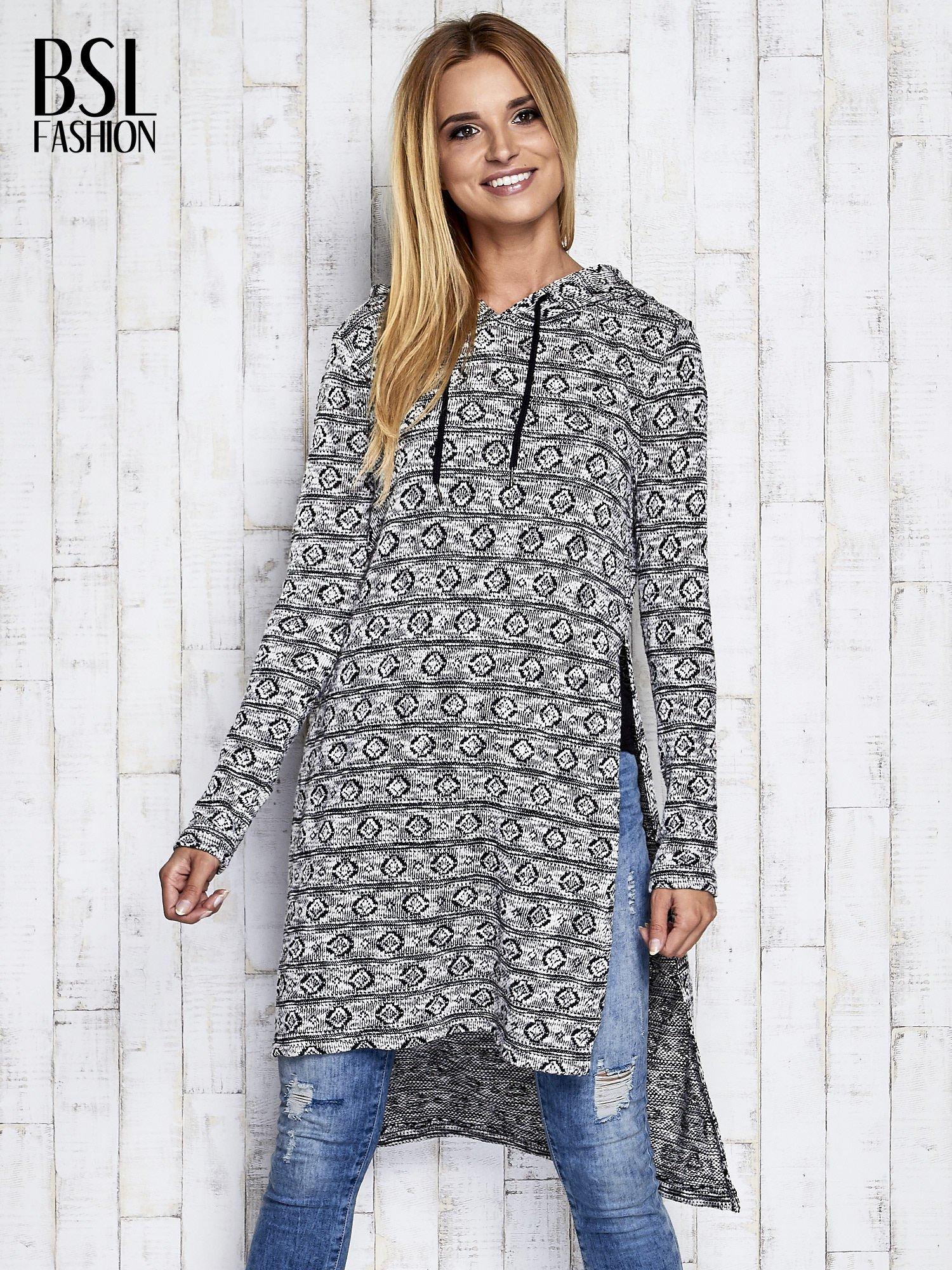 Ecru długi sweter z kapturem                                  zdj.                                  3