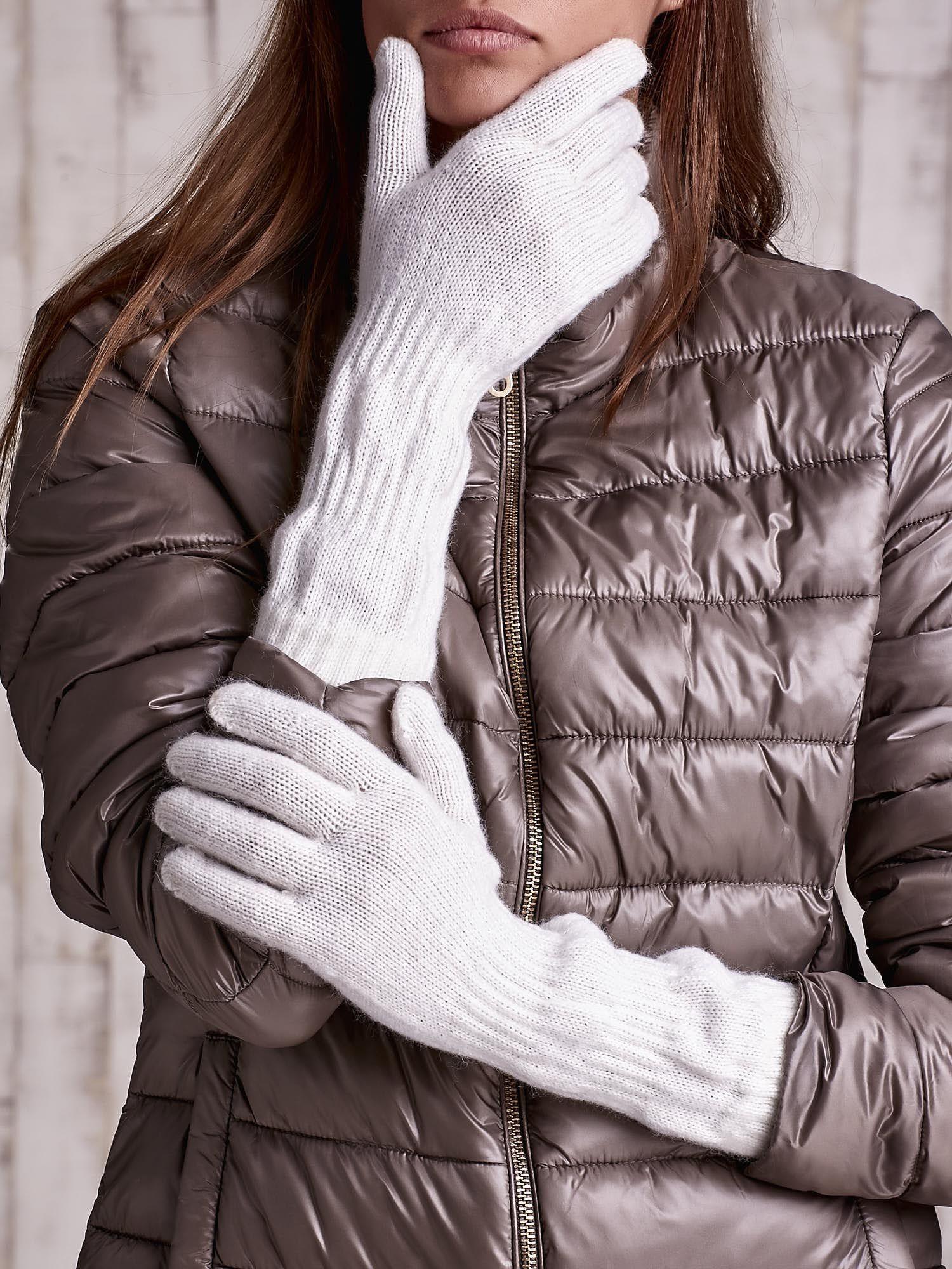 Ecru długie rękawiczki z przeszywanym ściągaczem                                  zdj.                                  1