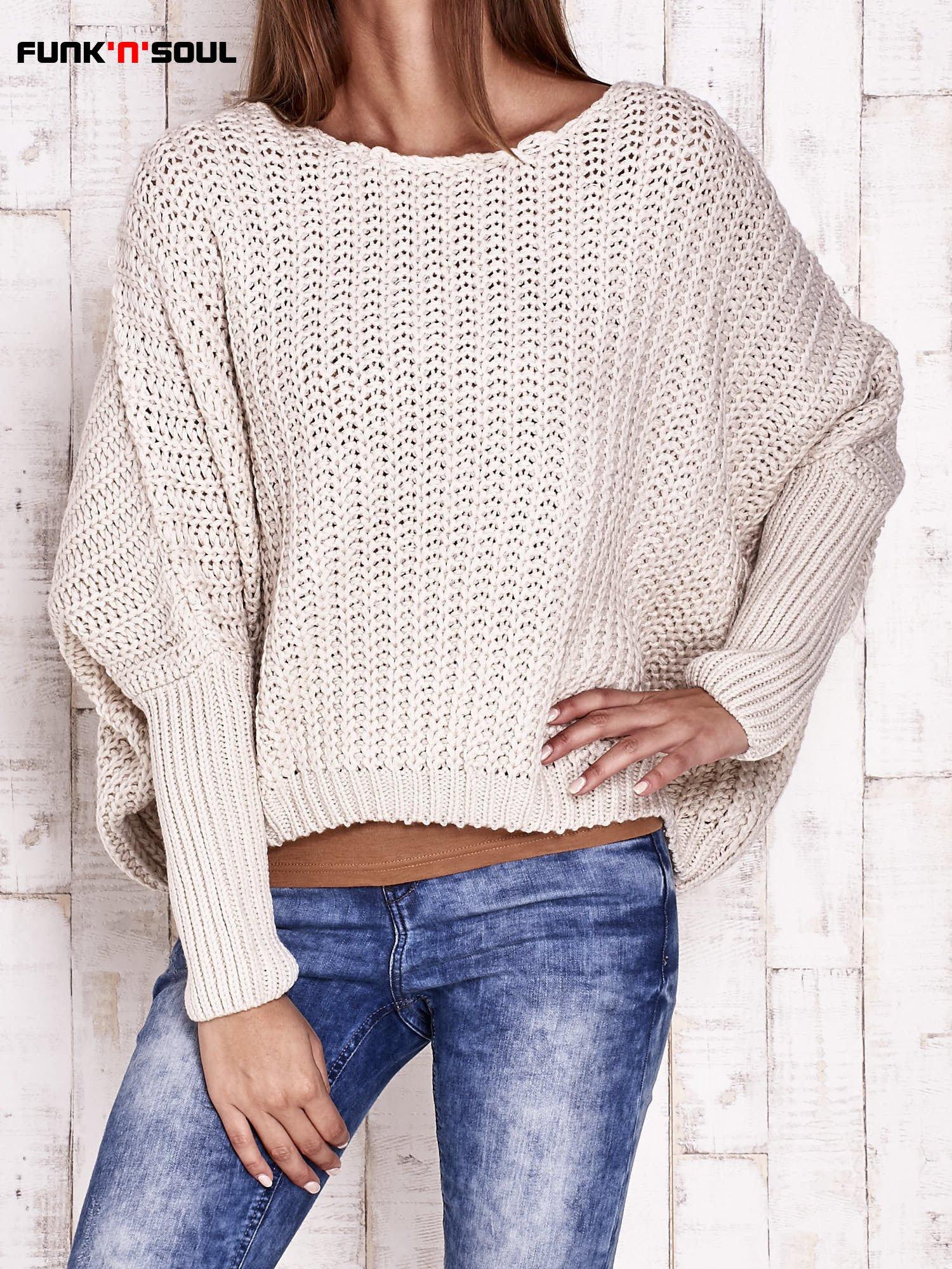 Ecru dziergany sweter oversize FUNK N SOUL                                  zdj.                                  2