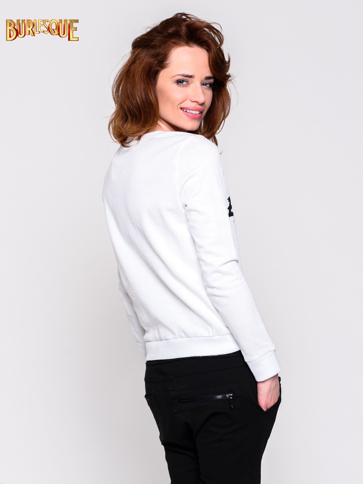 Ecru klasyczna bluza damska z napisem EXTRÉME UNIQUE                                  zdj.                                  2