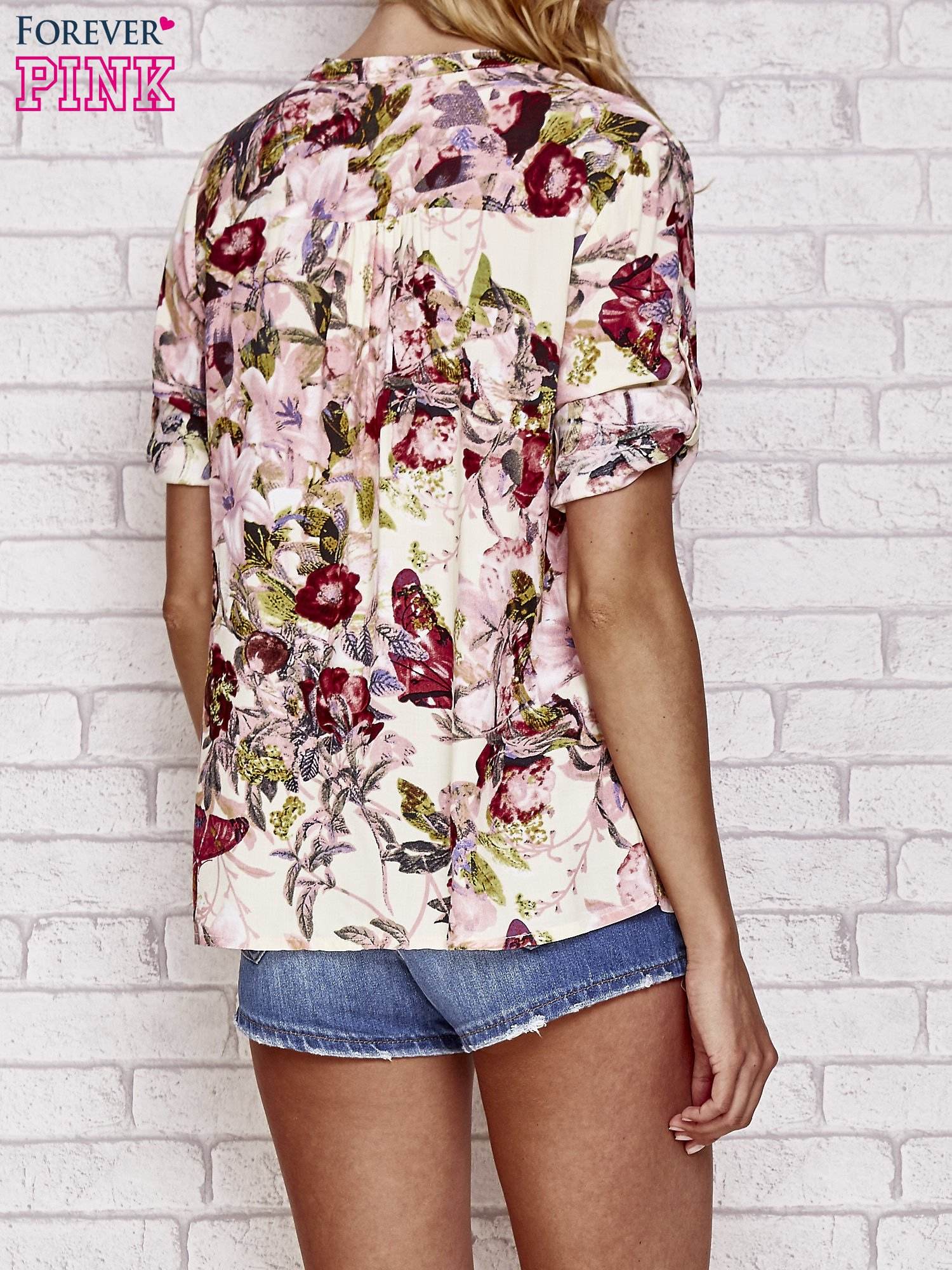Ecru koszula z nadrukiem kwiatowym                                  zdj.                                  2