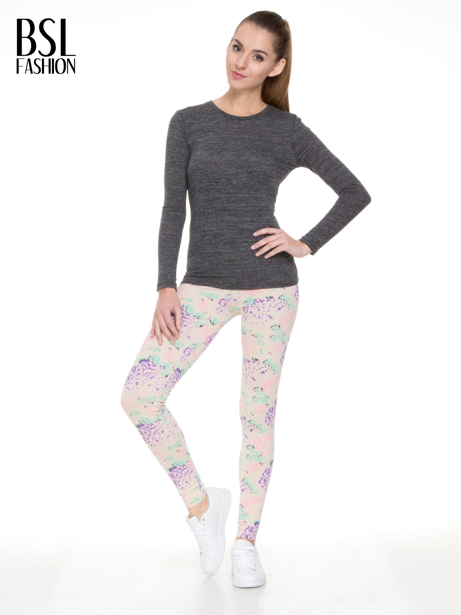 Ecru legginsy we wzór floral print z elastyczną gumą w pasie                                  zdj.                                  4
