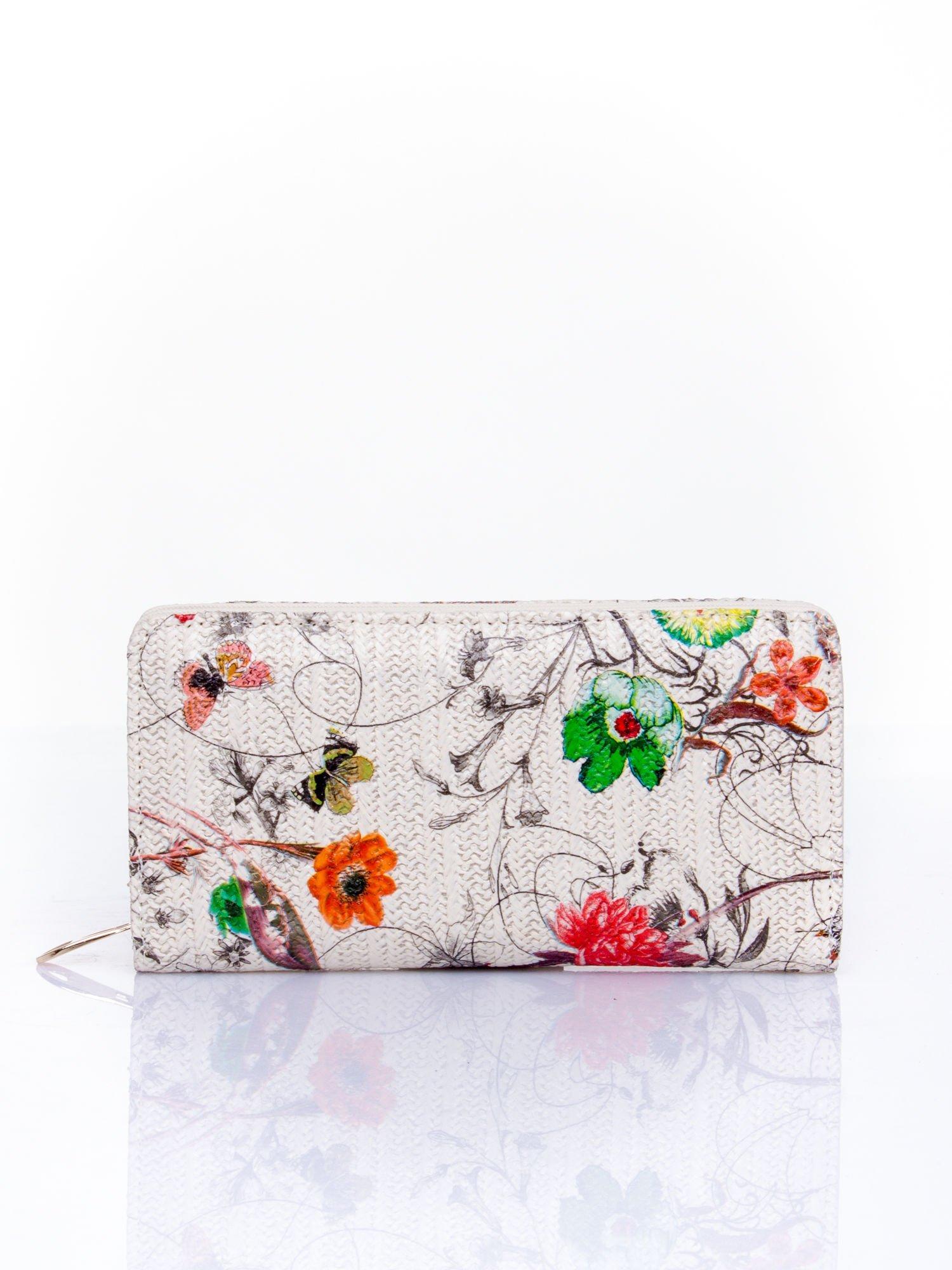 Ecru portfel z egzotycznym nadrukiem                                  zdj.                                  1