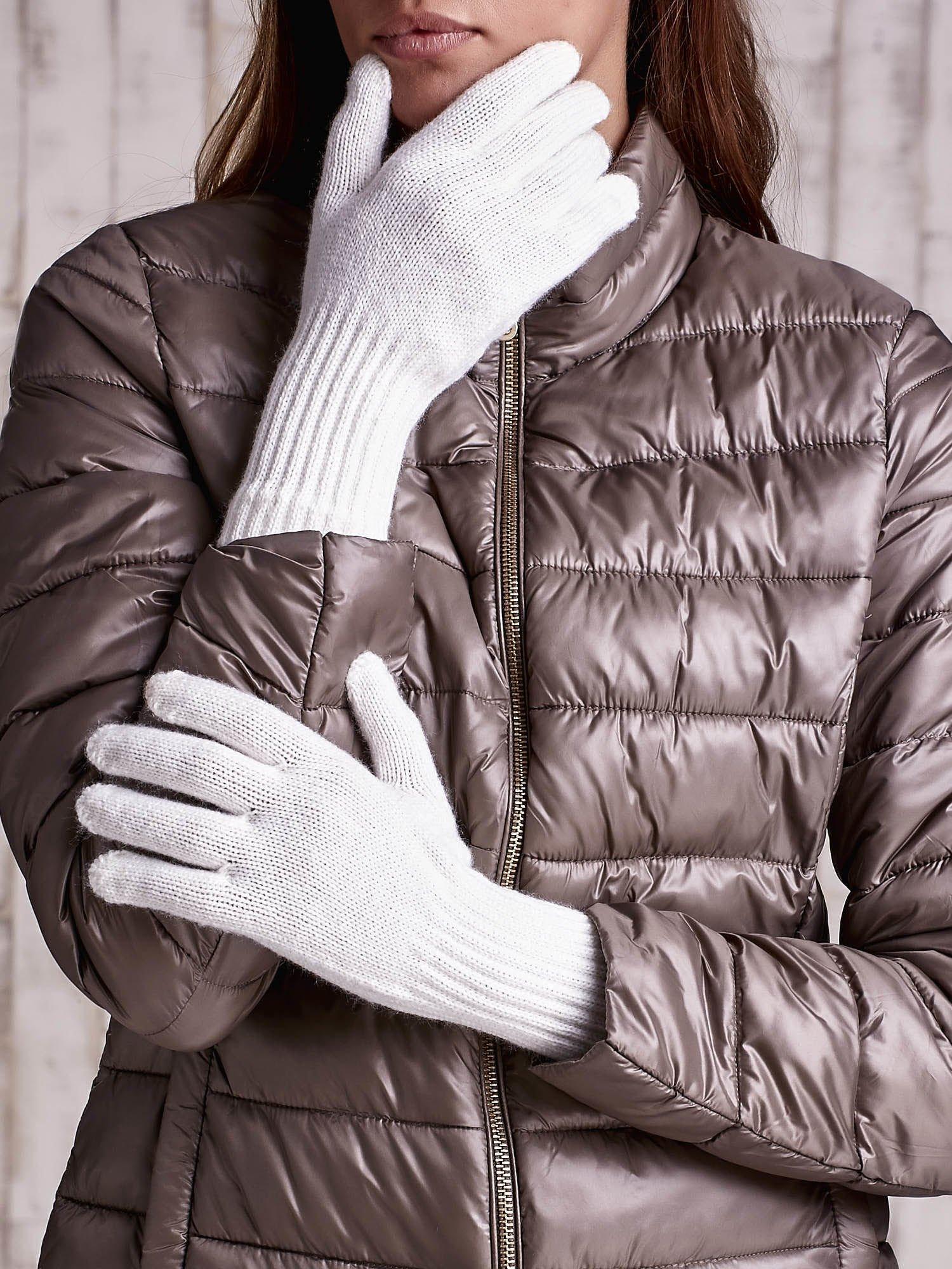 Ecru rękawiczki z długim ściągaczem                                  zdj.                                  1