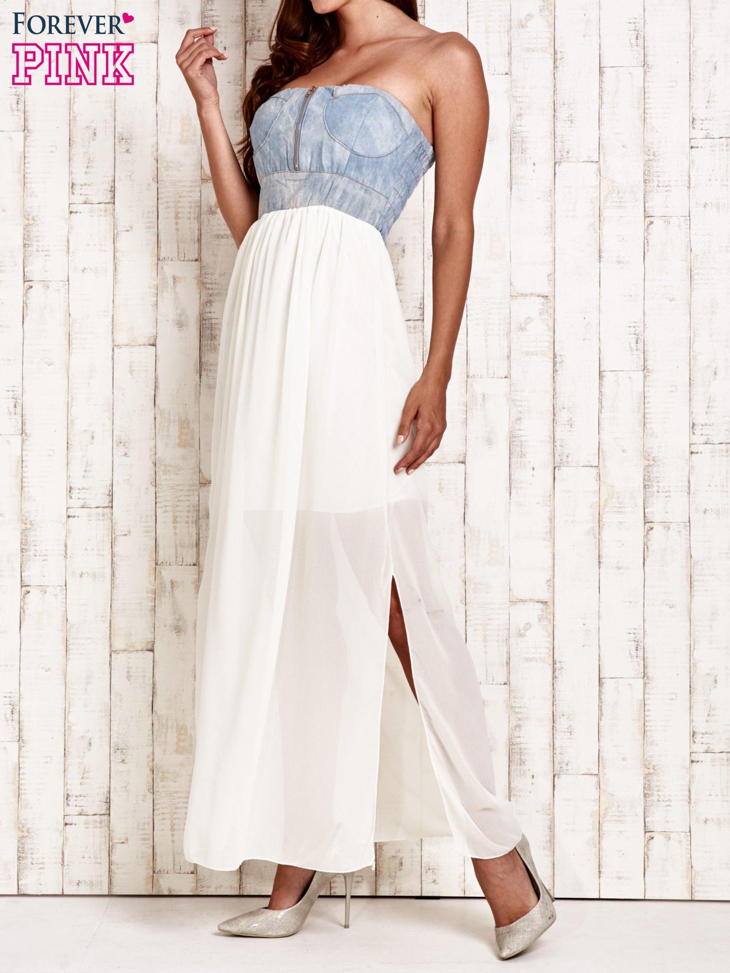 Ecru sukienka maxi z gorsetem z denimu                                  zdj.                                  3