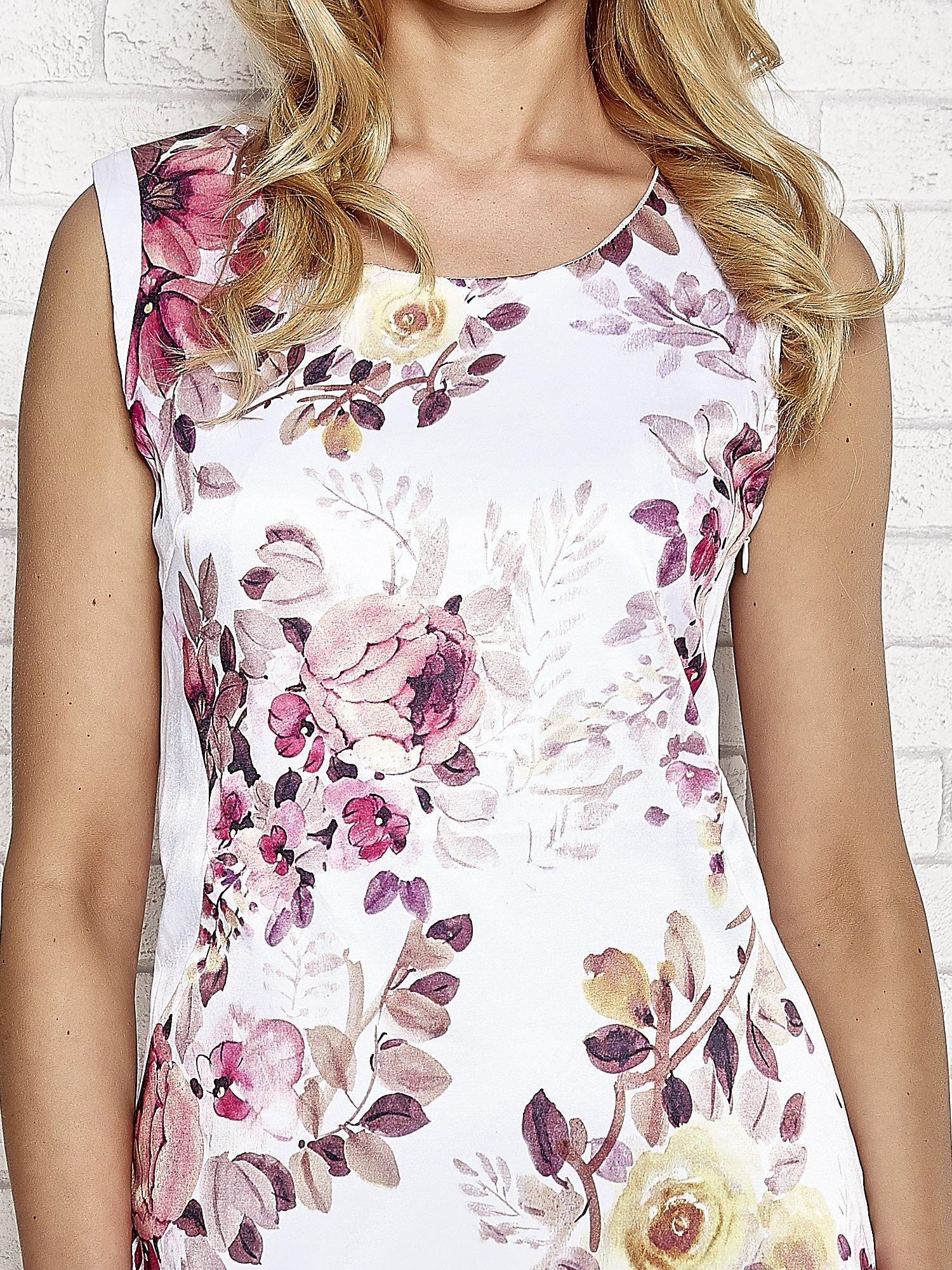 Ecru sukienka w różowe kwiaty                                  zdj.                                  5