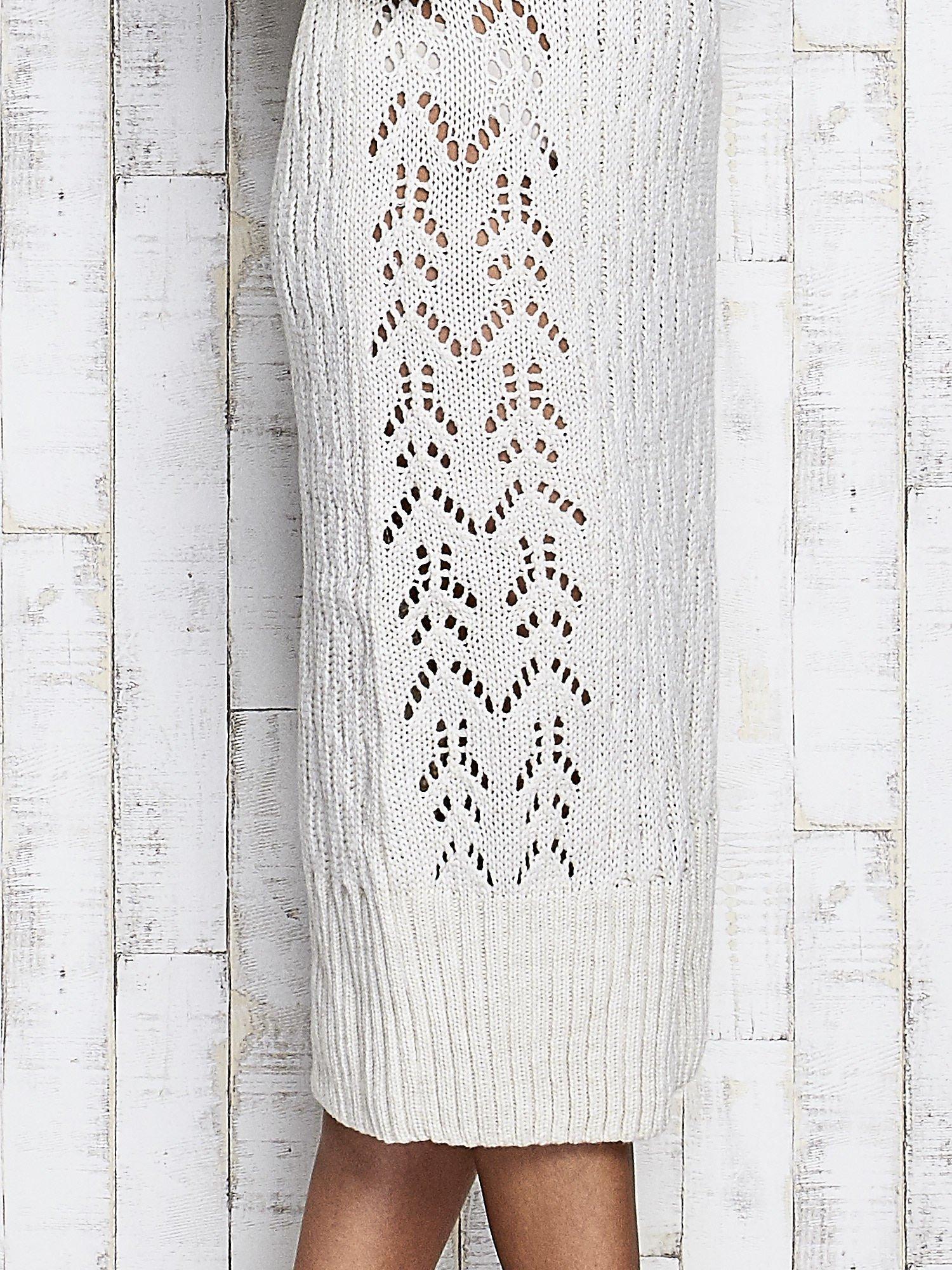 Ecru swetrowa sukienka midi                                  zdj.                                  8
