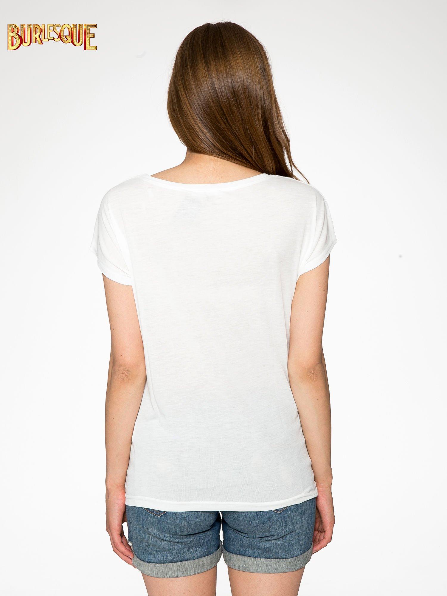 Ecru t-shirt z nadrukiem BABYDOLL REBEL 83                                  zdj.                                  4