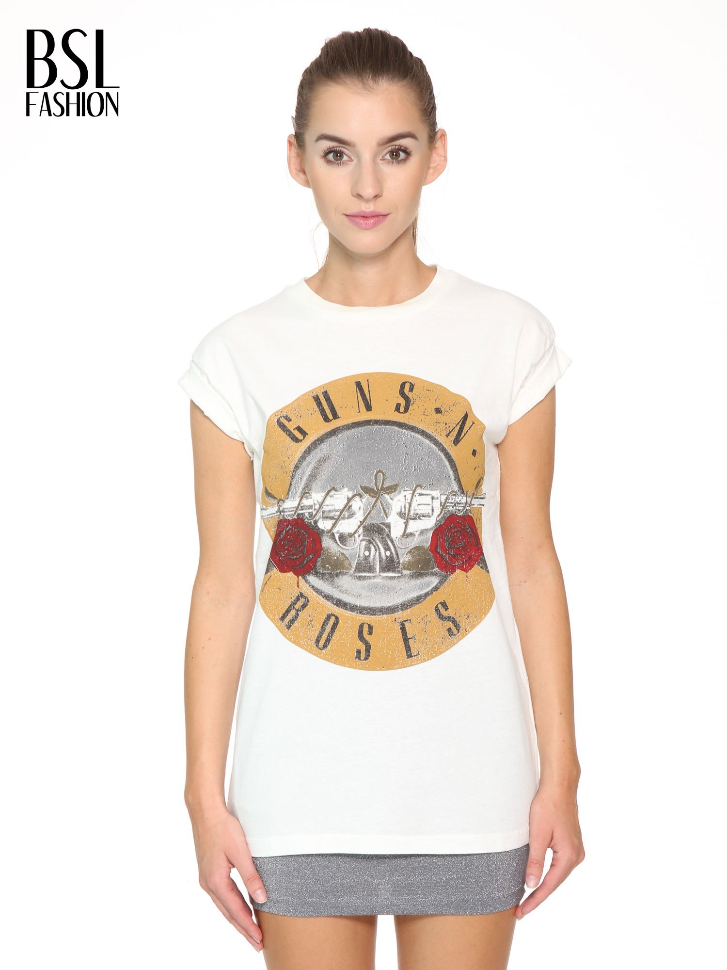 Ecru t-shirt z nadrukiem GUNS N' ROSES                                  zdj.                                  1
