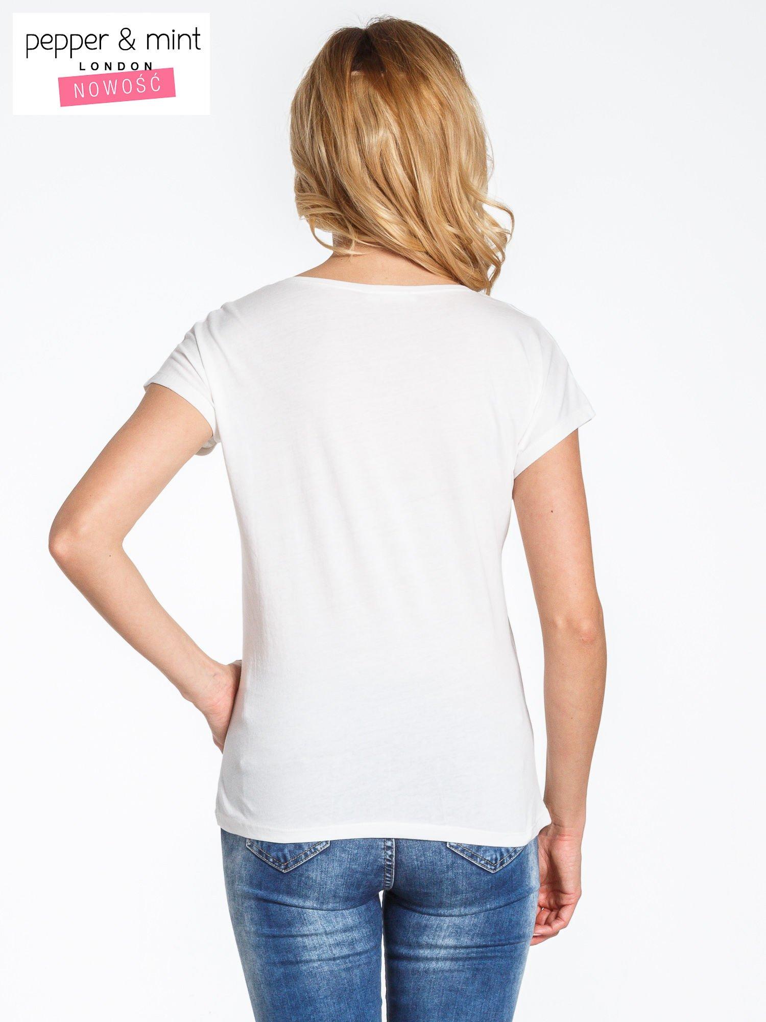 Ecru t-shirt z nadrukiem JOY OF LIFE                                  zdj.                                  4