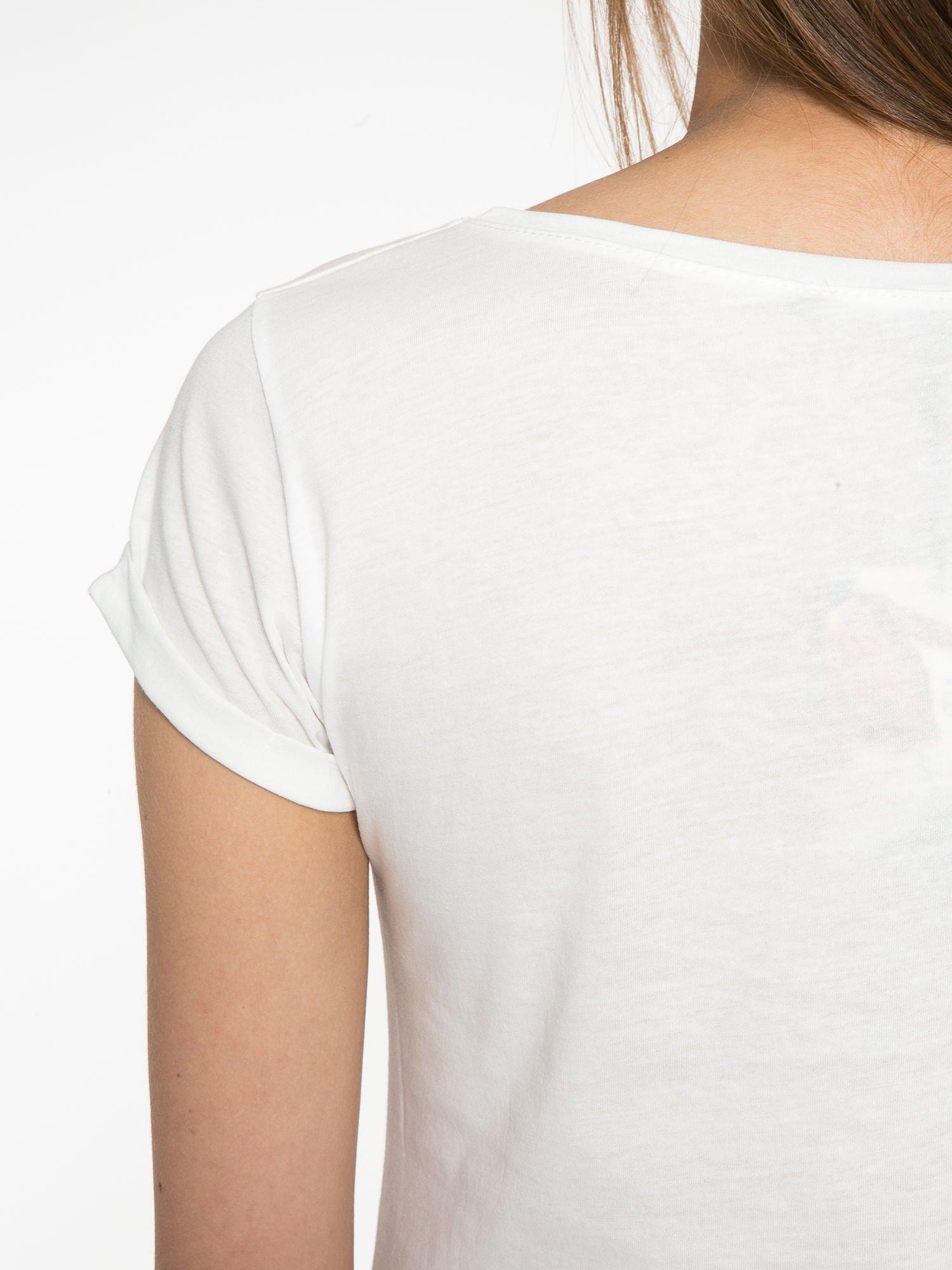 Ecru t-shirt z nadrukiem kota i napisem CATS RULE                                  zdj.                                  10
