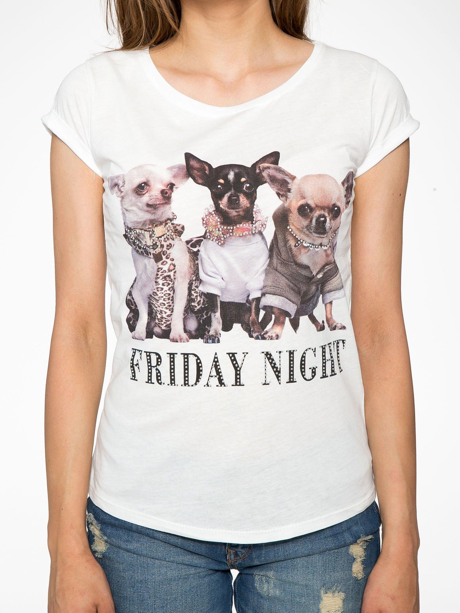 Ecru t-shirt z nadrukiem szczeniąt                                  zdj.                                  8