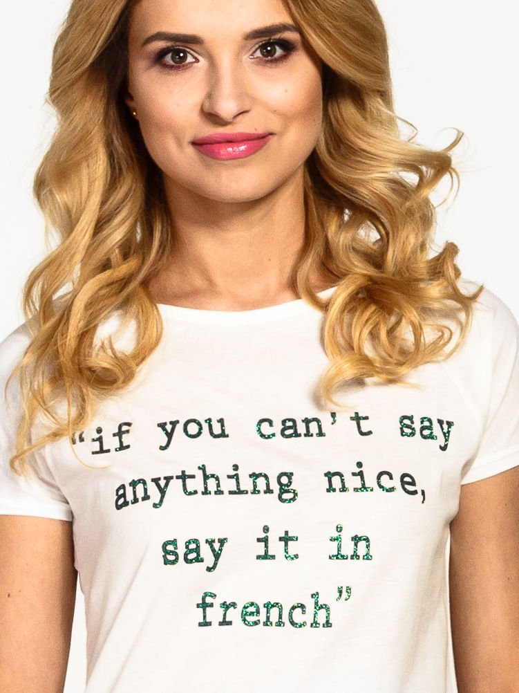 Ecru t-shirt z napisem IF YOU CAN'T SAY ANYTHING NICE SAY IT IN FRENCH                                  zdj.                                  5
