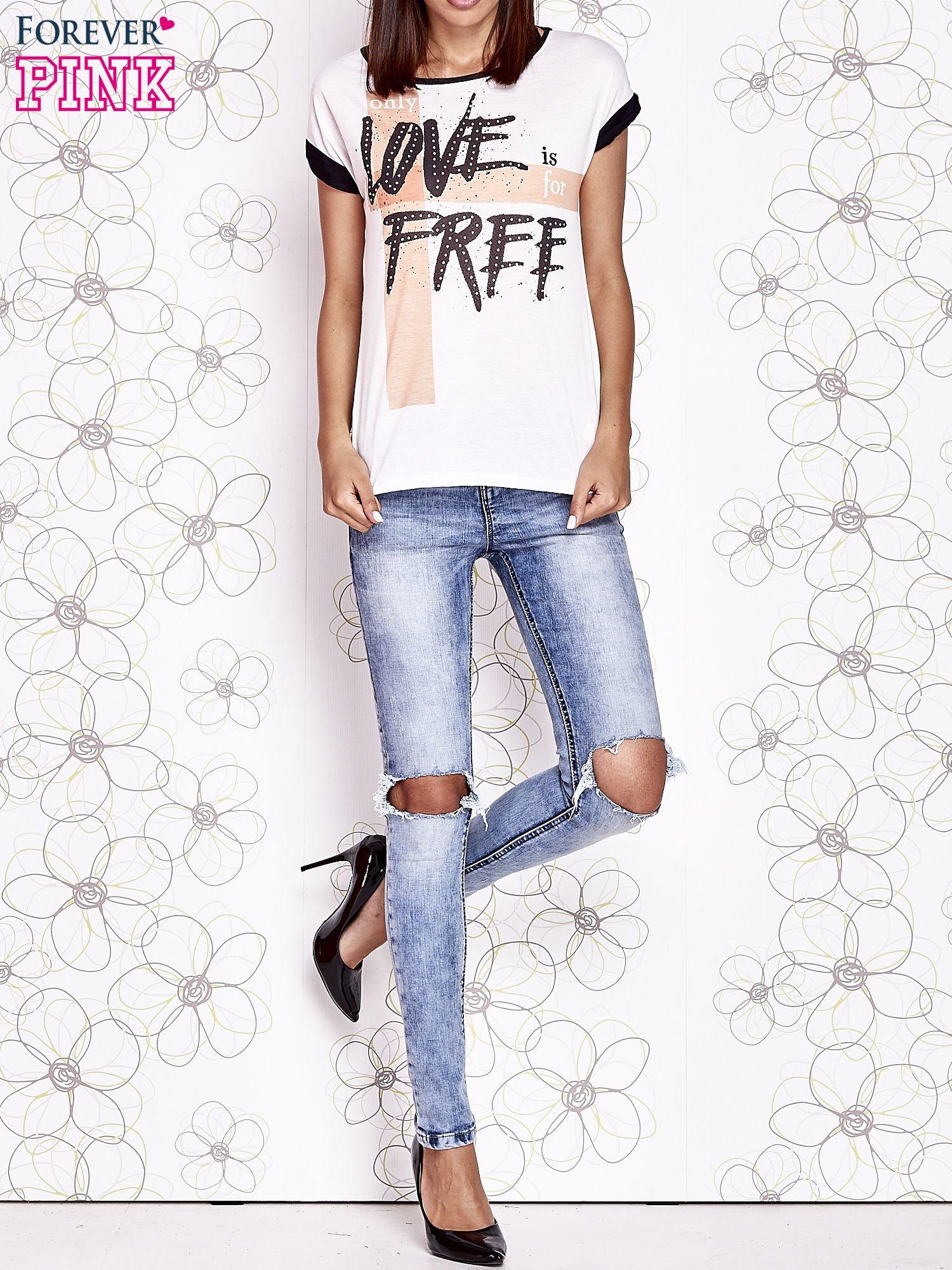 Ecru t-shirt z napisem ONLY LOVE IS FOR FREE                                  zdj.                                  6