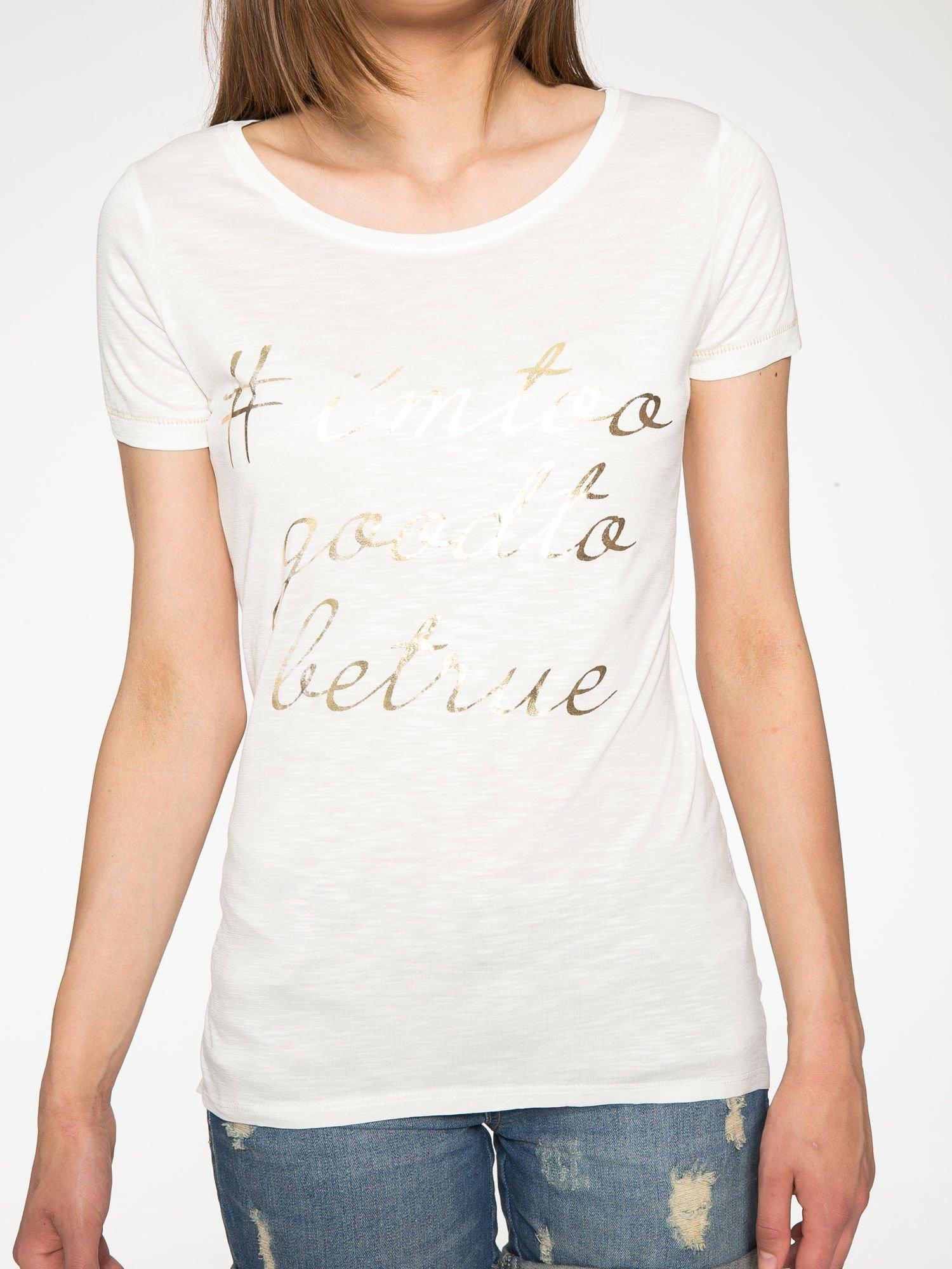 Ecru t-shirt ze złotym hasztagiem                                  zdj.                                  7