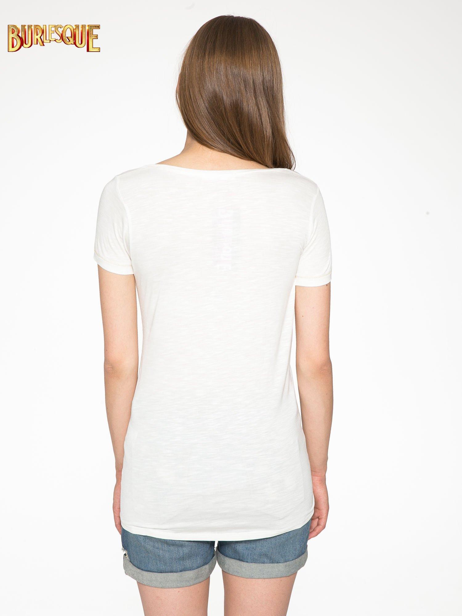 Ecru t-shirt ze złotym hasztagiem                                  zdj.                                  4
