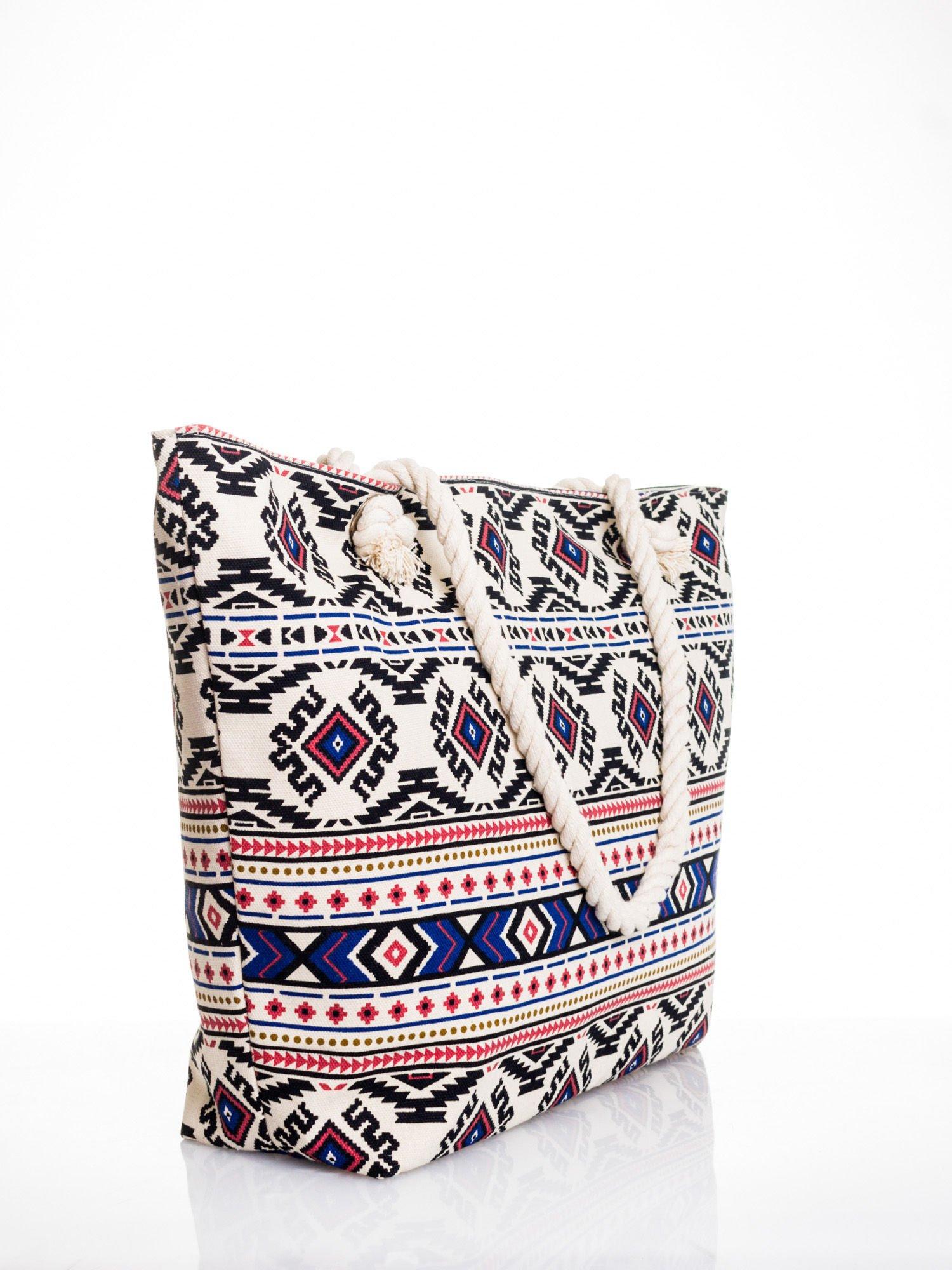 Ecru torba plażowa w azteckie wzory                                  zdj.                                  3
