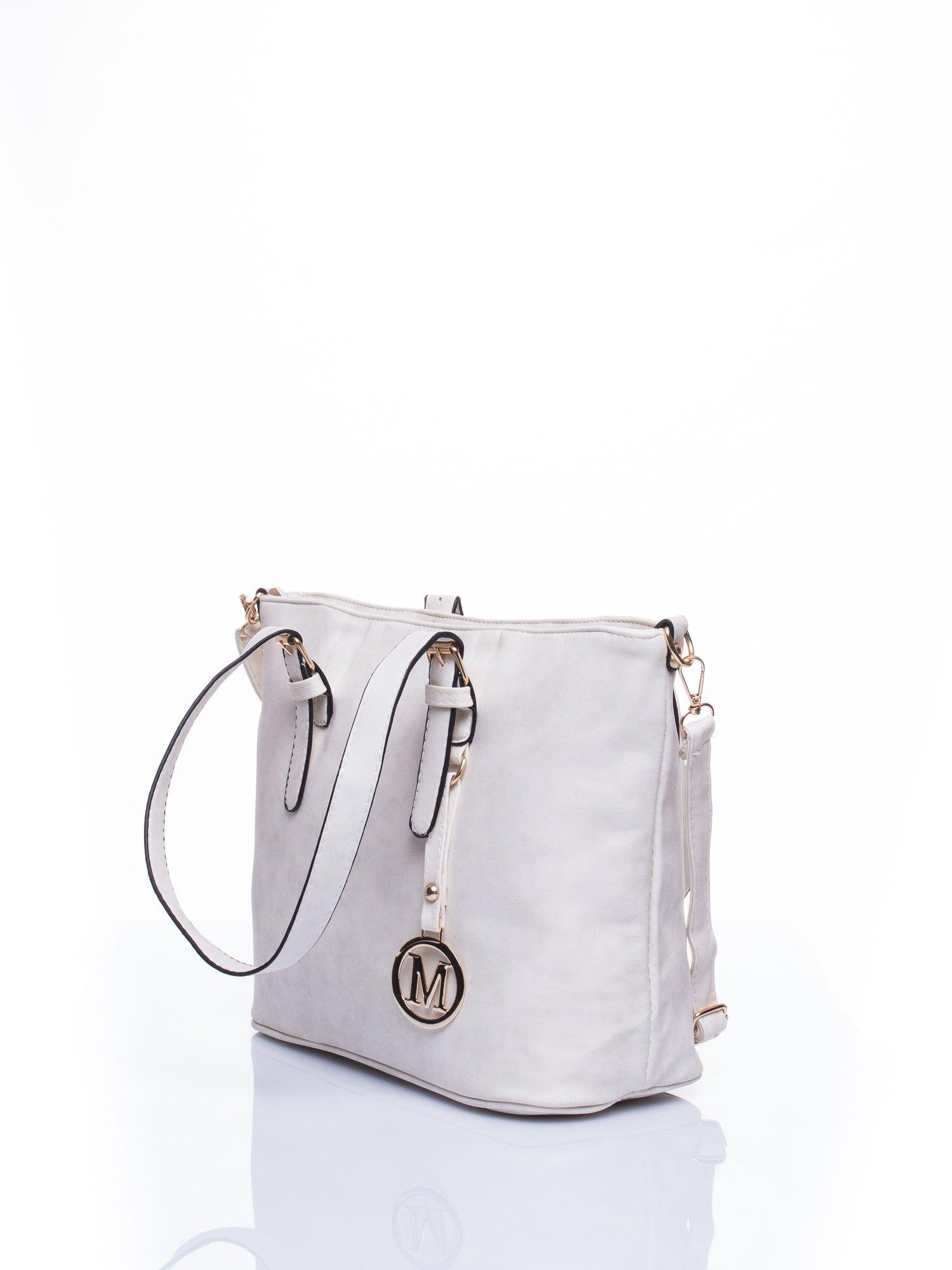 Ecru torba shopper bag z zawieszką                                  zdj.                                  3