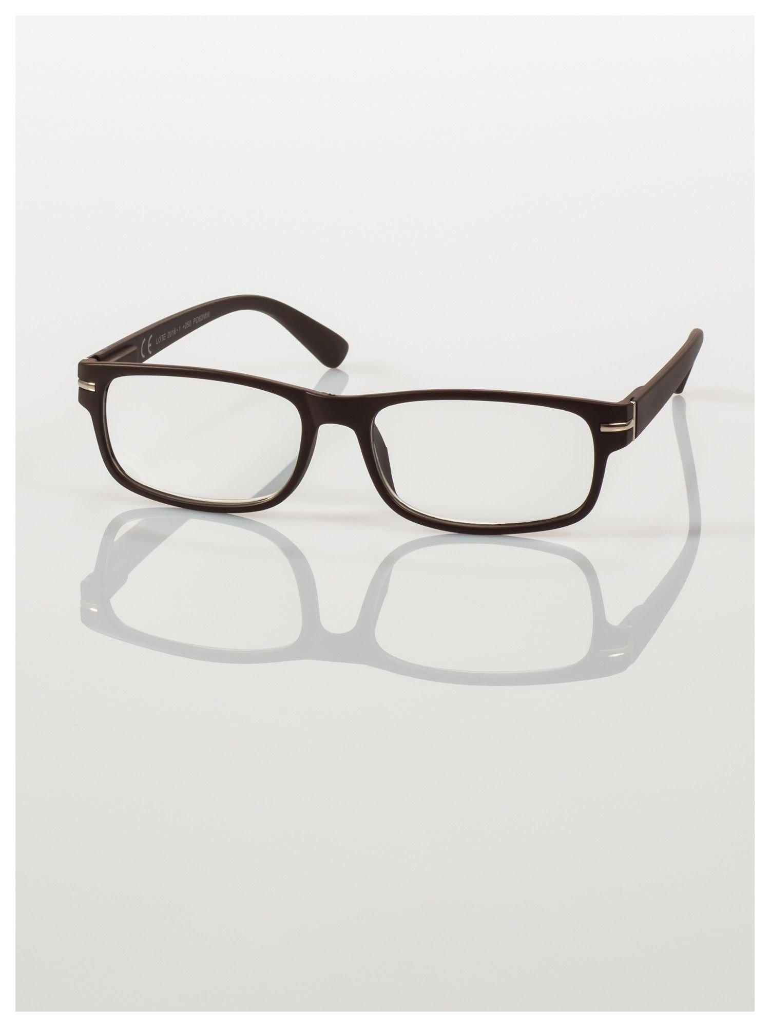 Eleganckie brązowe matowe korekcyjne okulary do czytania +1.5 D  z sytemem FLEX na zausznikach                                  zdj.                                  2