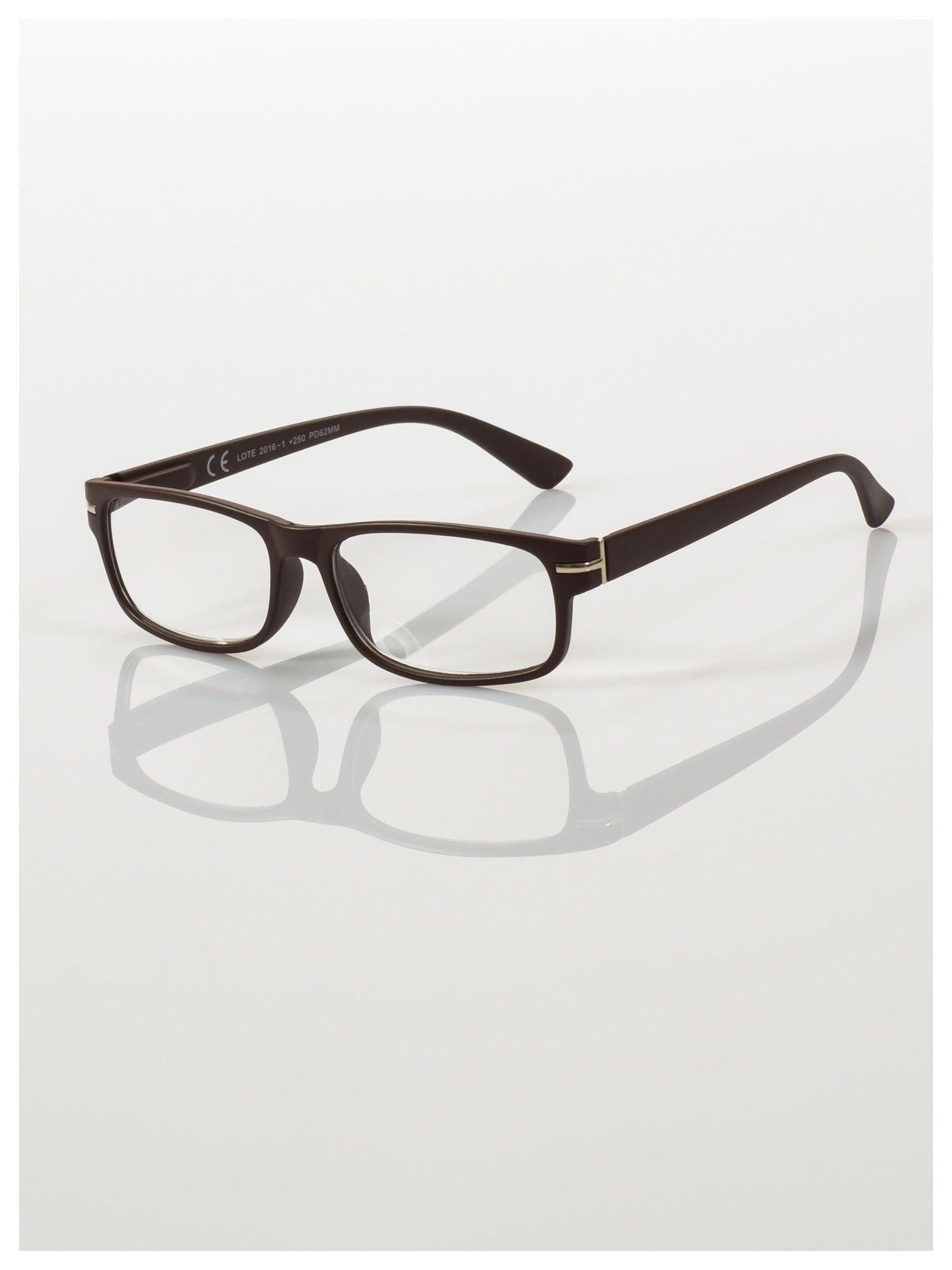 Eleganckie brązowe matowe korekcyjne okulary do czytania +1.5 D  z sytemem FLEX na zausznikach                                  zdj.                                  1