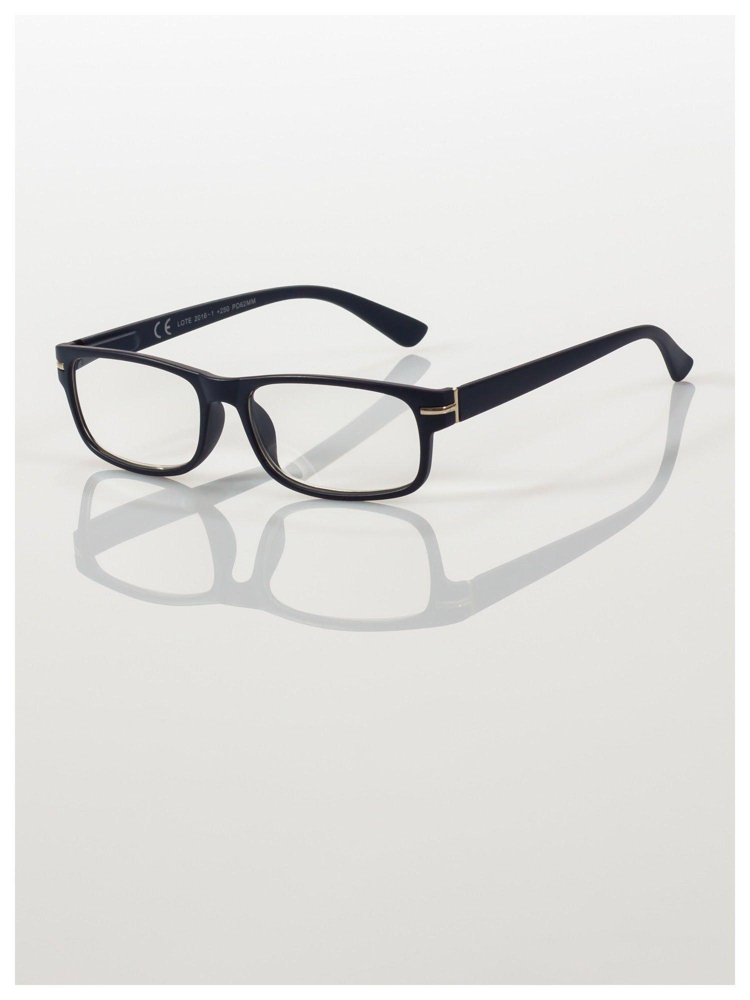 Eleganckie granatowe matowe korekcyjne okulary do czytania +2.5 D  z sytemem FLEX na zausznikach                                  zdj.                                  1