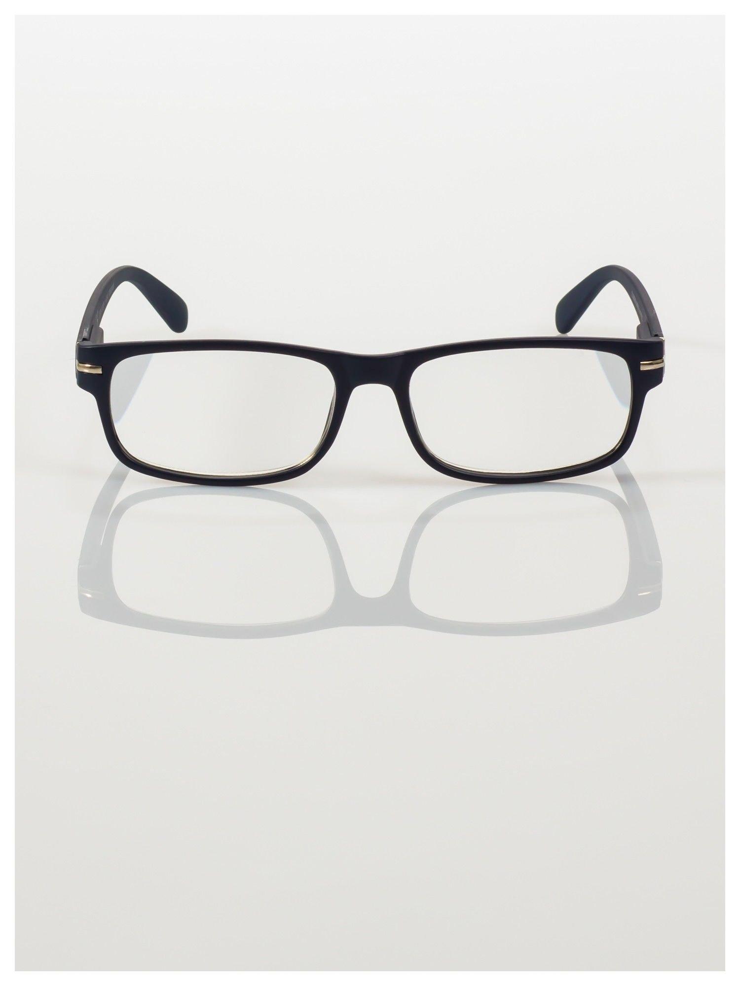 Eleganckie granatowe matowe korekcyjne okulary do czytania +2.5 D  z sytemem FLEX na zausznikach                                  zdj.                                  3