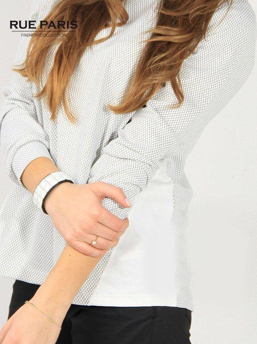Fakturowana bluza ecru z wstawkami po bokach                                   zdj.                                  3