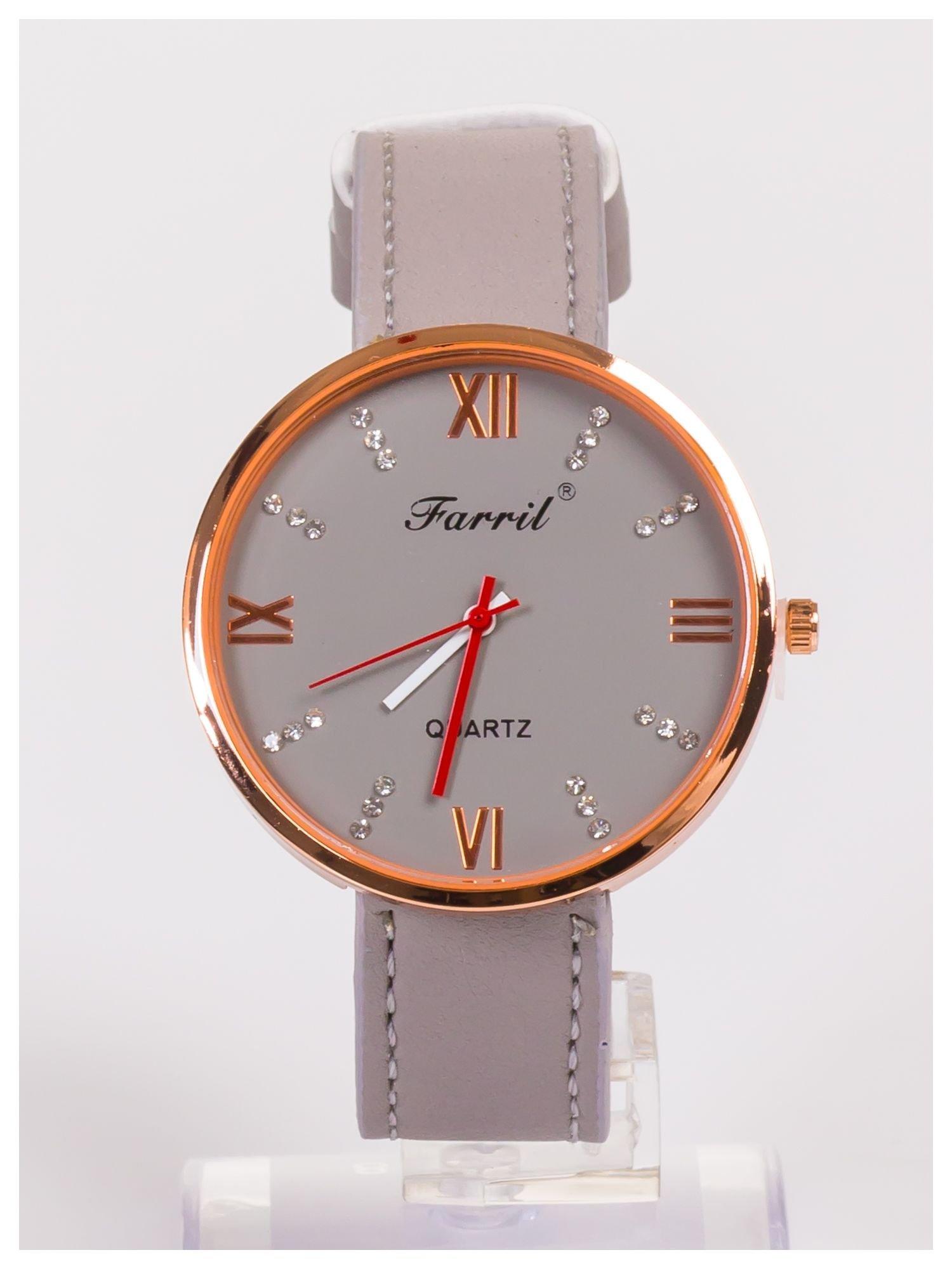 Farril -Klasyka i elegancja szary damski zegarek retro z cyrkoniami -Rose gold                                  zdj.                                  1