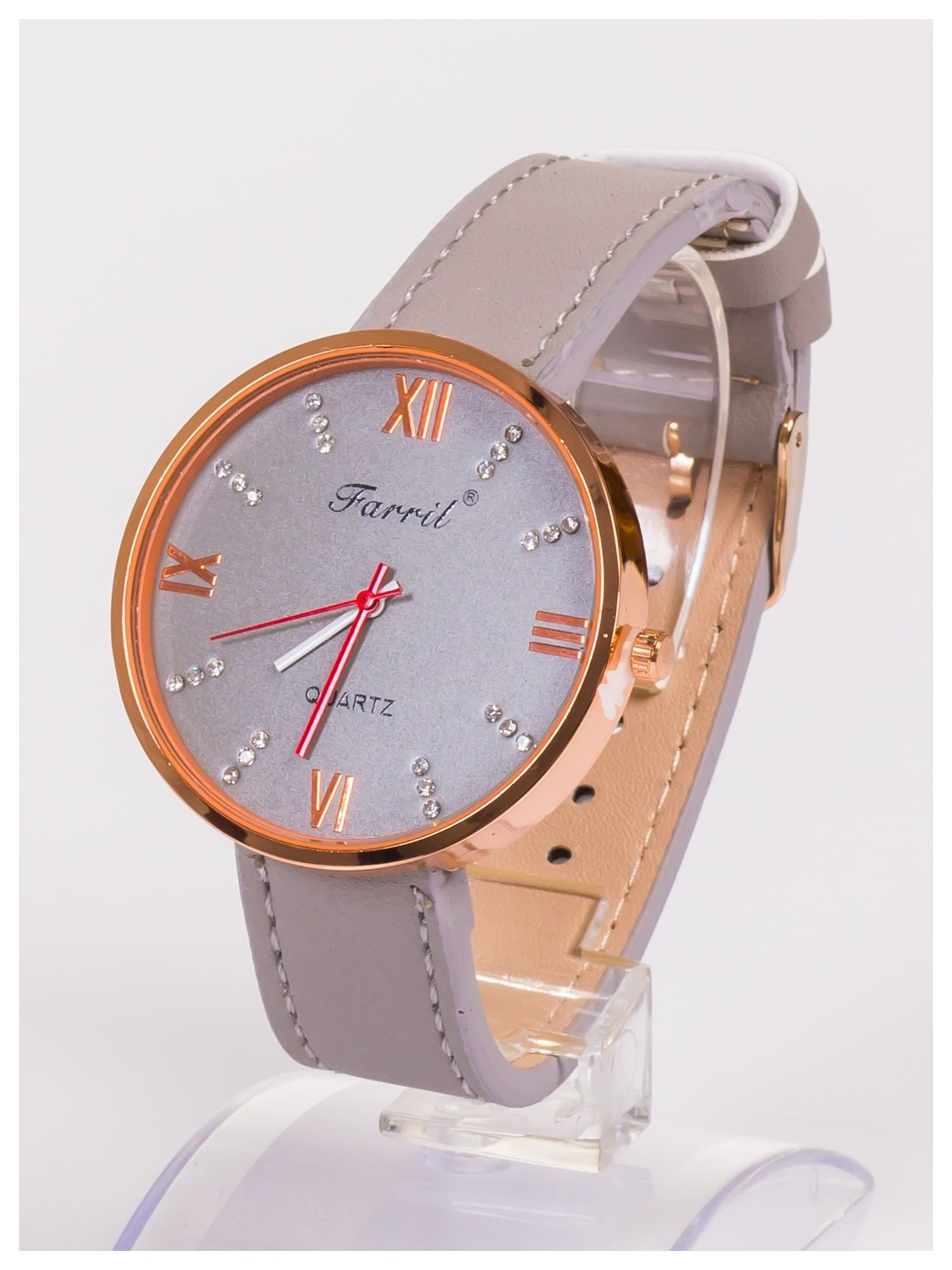 Farril -Klasyka i elegancja szary damski zegarek retro z cyrkoniami -Rose gold                                  zdj.                                  2