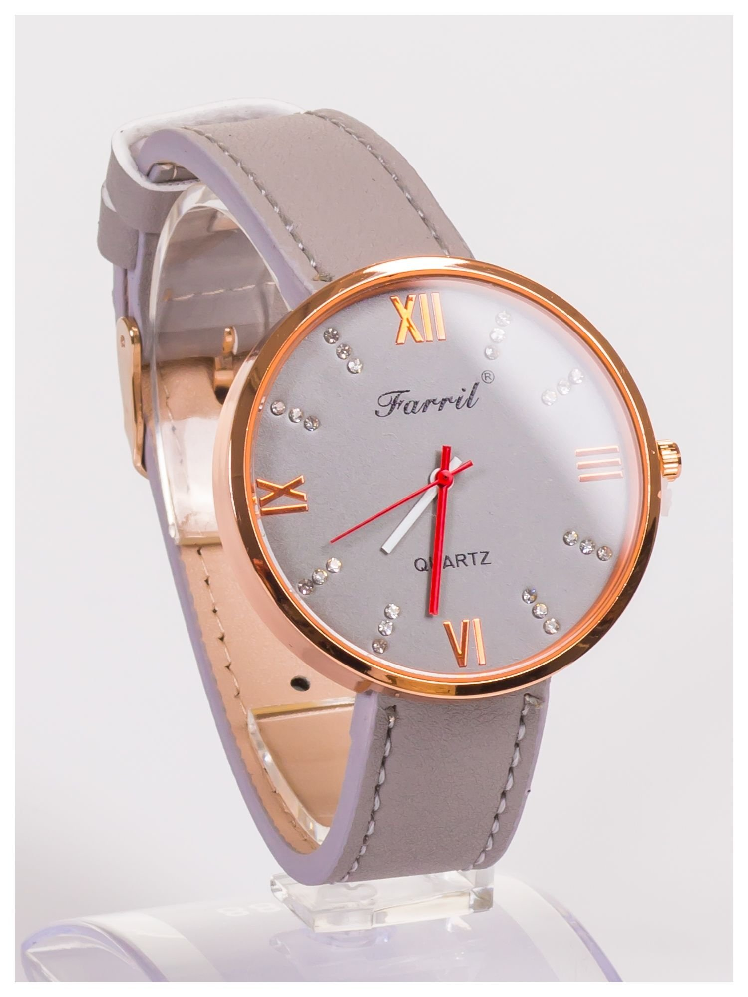 Farril -Klasyka i elegancja szary damski zegarek retro z cyrkoniami -Rose gold                                  zdj.                                  3