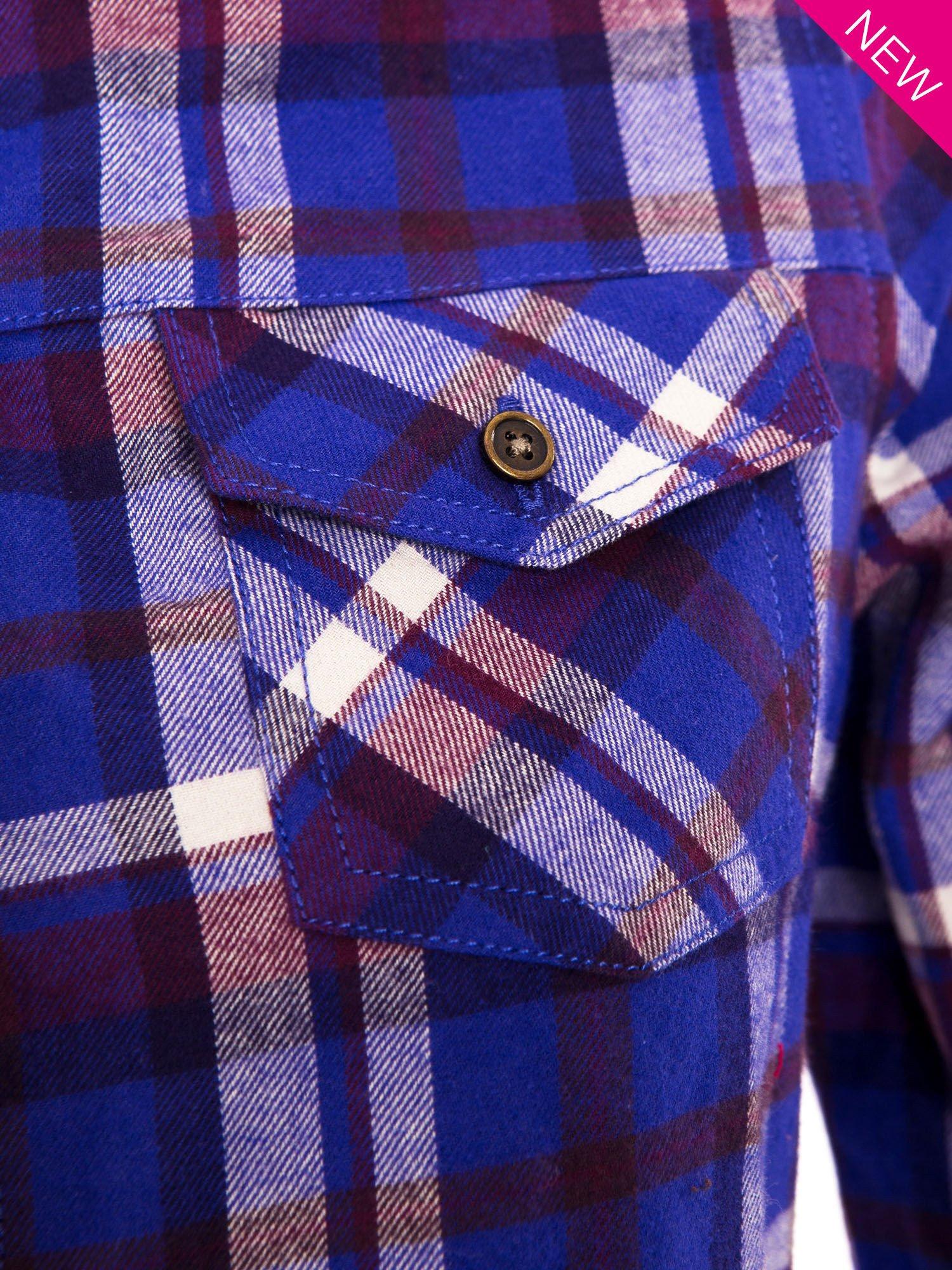 Fioletowa koszula w kratę z kieszonką z przodu                                  zdj.                                  5