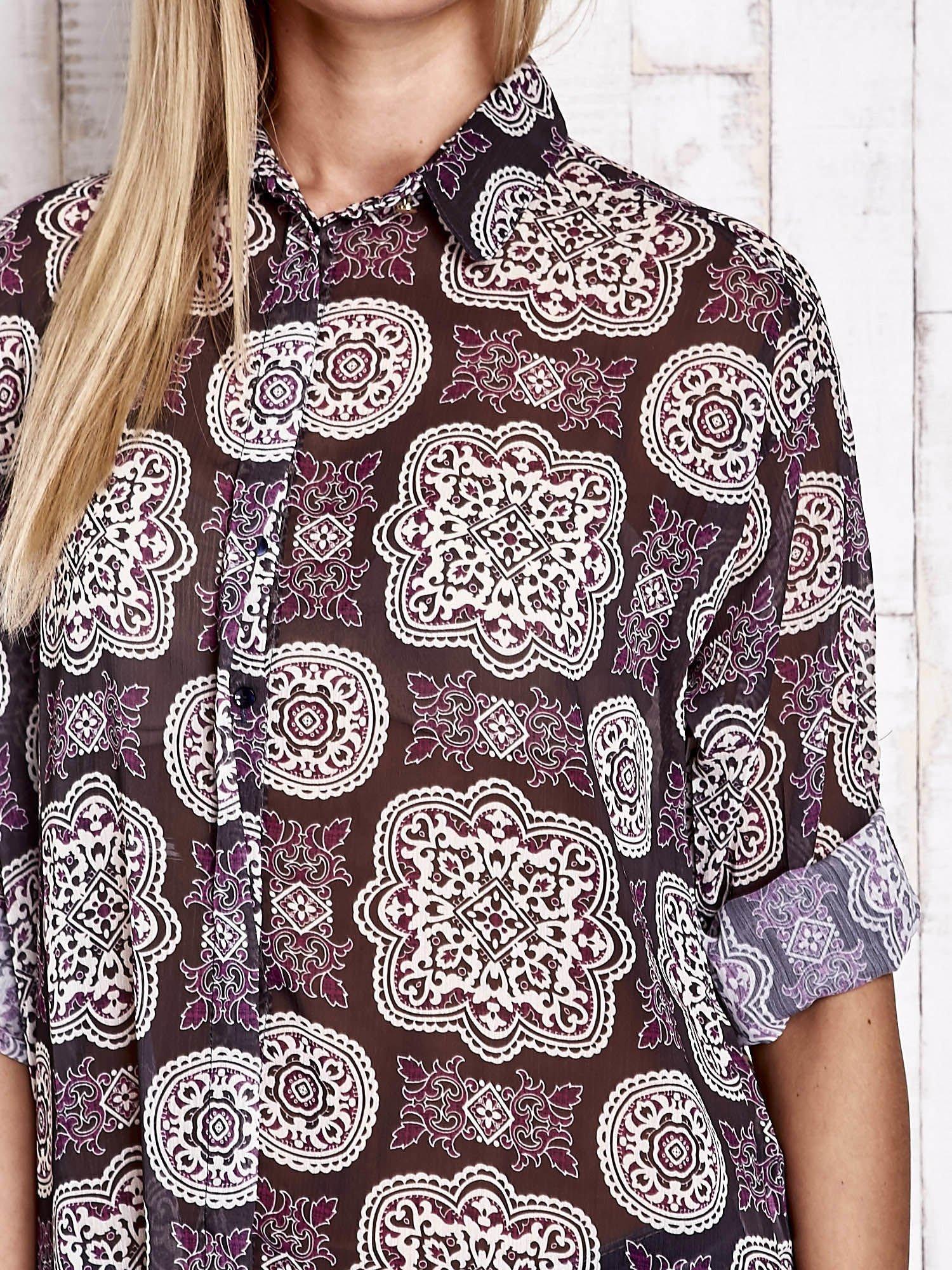 Fioletowa koszula w ornamenty kwiatowe                                  zdj.                                  6