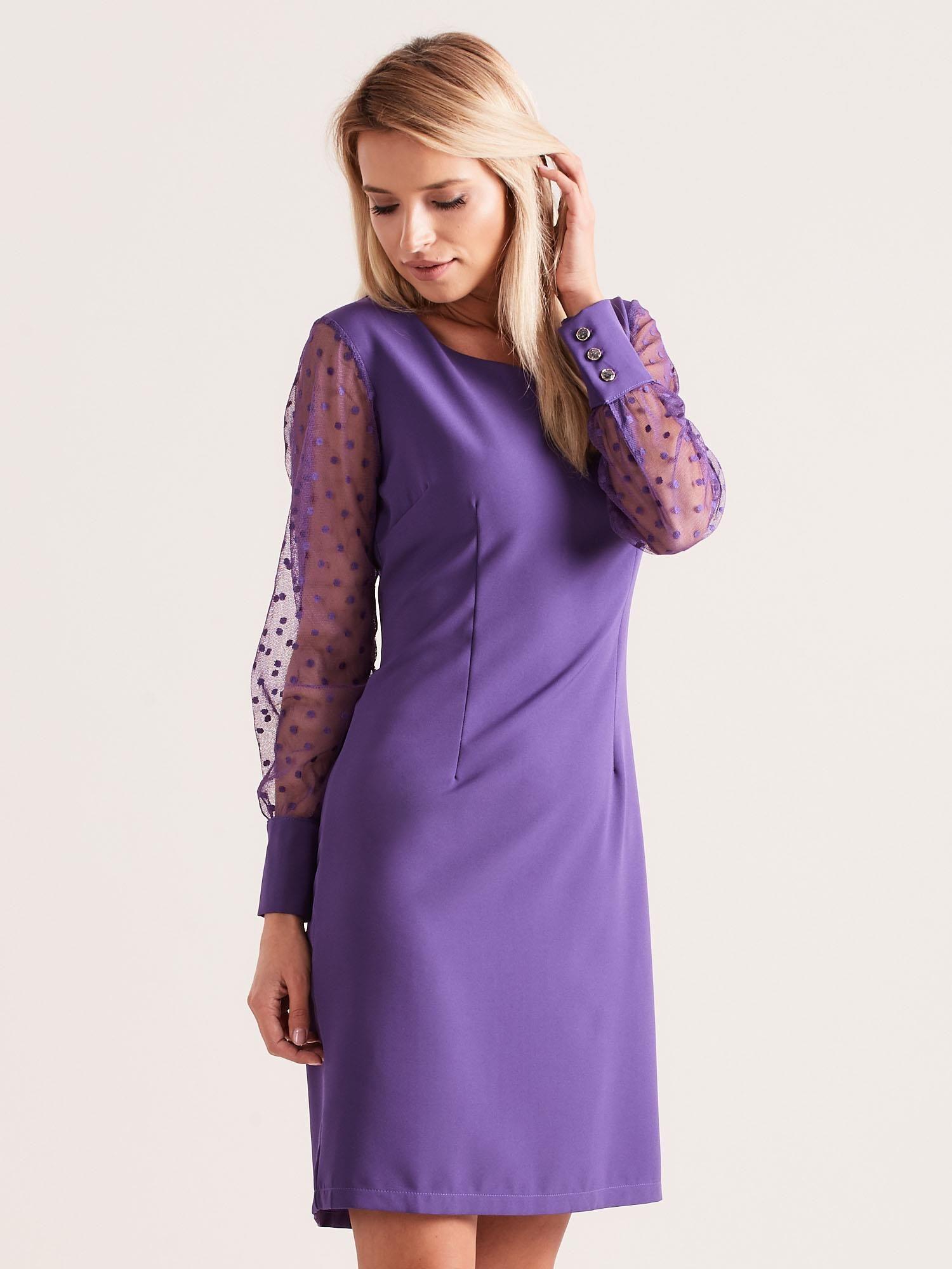 b83f7f54 Fioletowa sukienka z mankietami