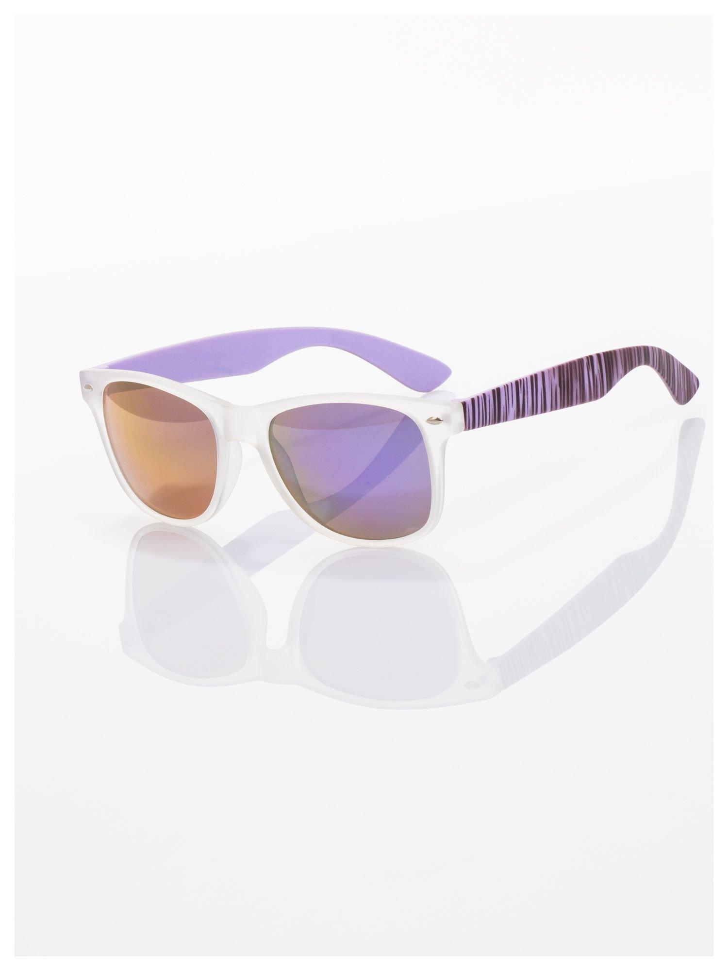 Fioletowe  lustrzanki z filtrami UV okulary z klasyczną oprawką WAYFARER NERD z efektem mlecznej szyby -odporne na wyginania                                  zdj.                                  2