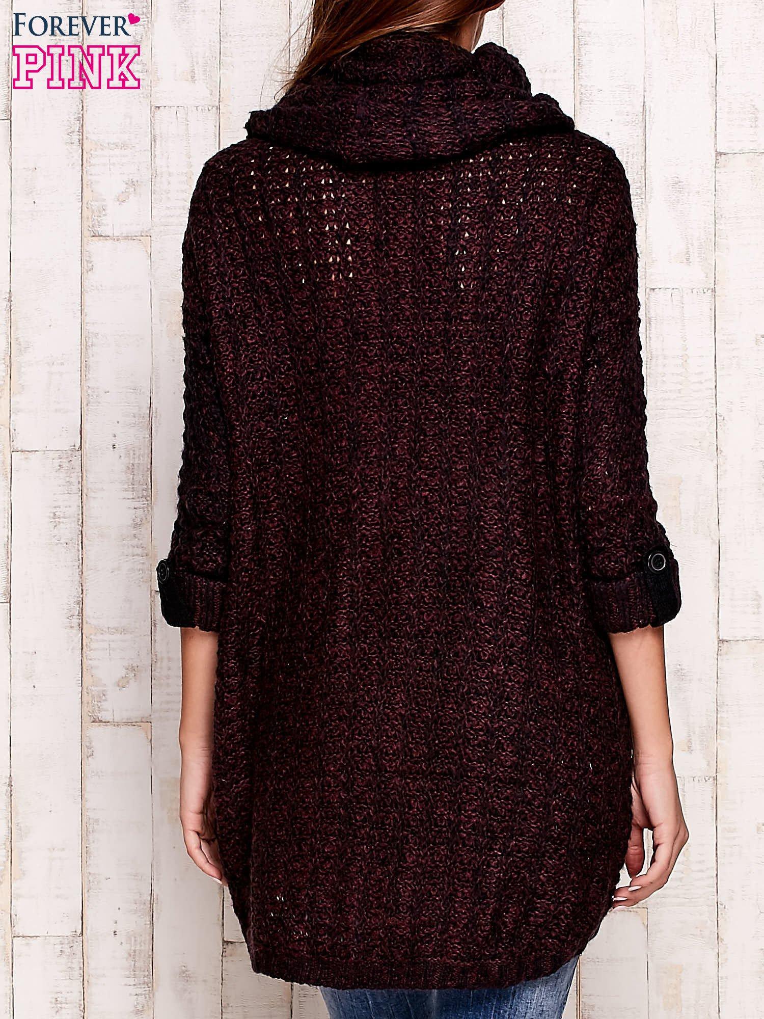Fioletowy melanżowy sweter z szerokim golfem i kieszeniami                                   zdj.                                  4