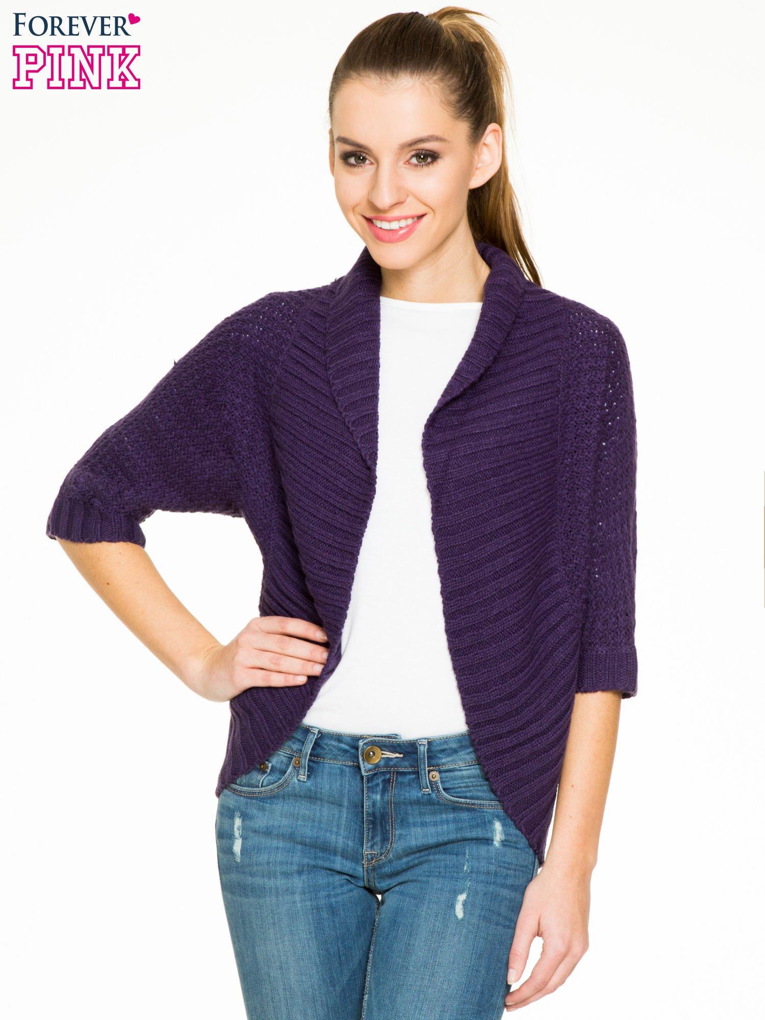 Fioletowy sweter narzutka z rękawem 3/4                                  zdj.                                  1