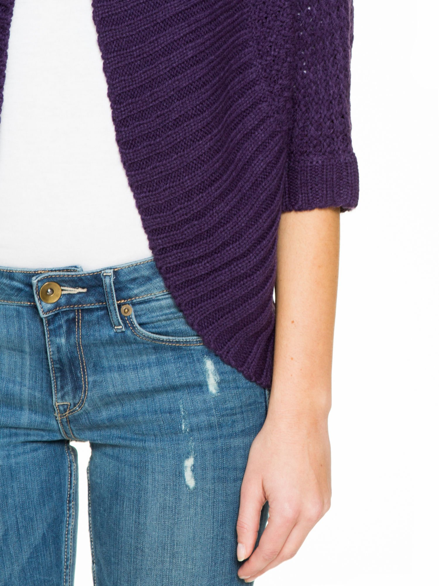 Fioletowy sweter narzutka z rękawem 3/4                                  zdj.                                  7