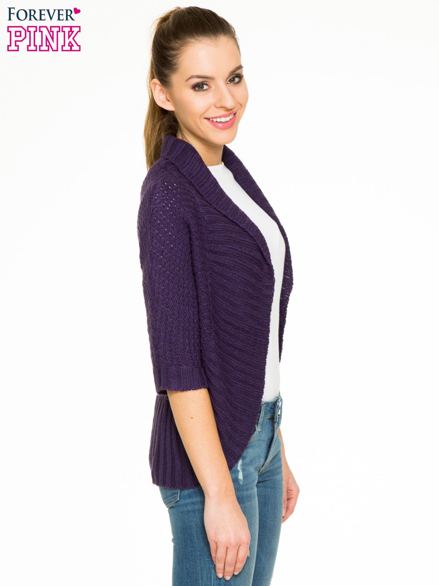 Fioletowy sweter narzutka z rękawem 3/4                                  zdj.                                  3