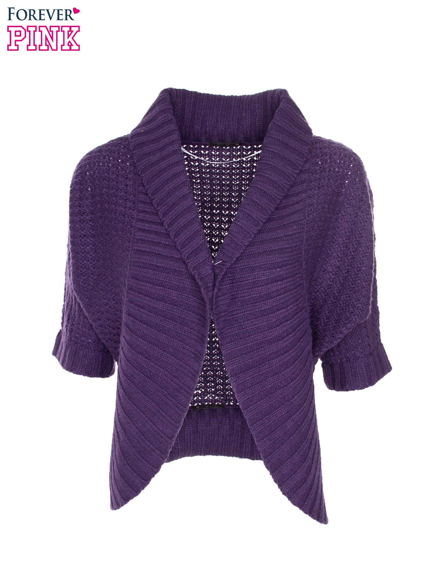 Fioletowy sweter narzutka z rękawem 3/4                                  zdj.                                  5