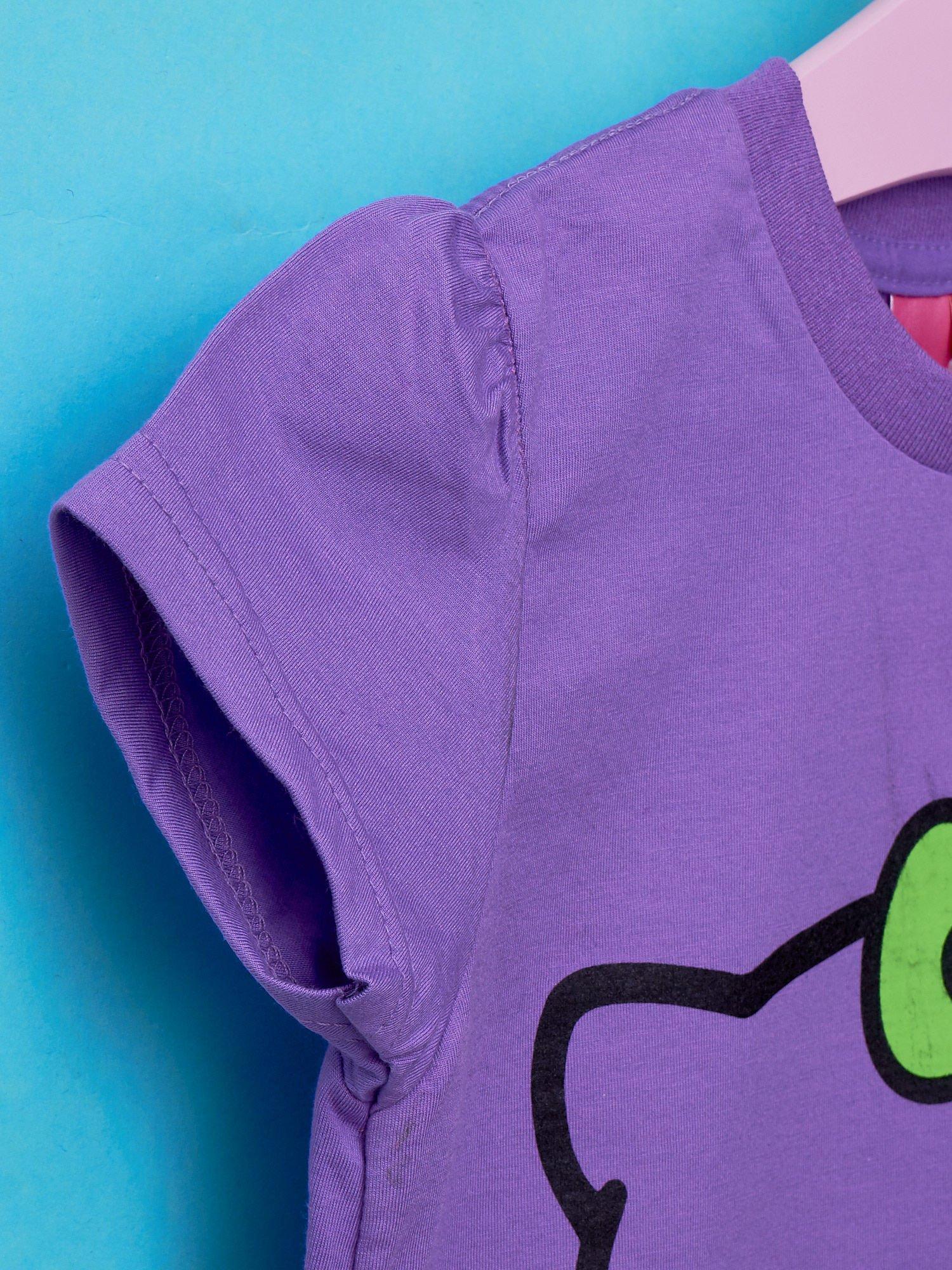 Fioletowy t-shirt dla dziewczynki HELLO KITTY z napisami                                  zdj.                                  5