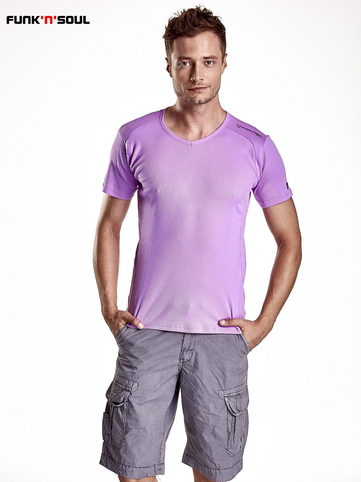Fioletowy t-shirt męski w prążki Funk n Soul                                  zdj.                                  1