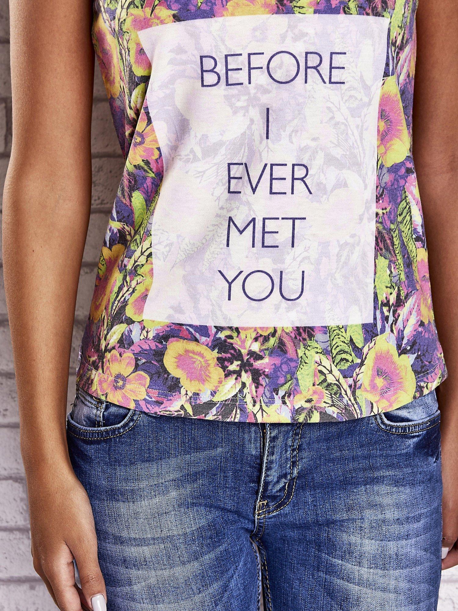 Fioletowy t-shirt w kwiaty z napisem BEFORE I EVER MET YOU                                  zdj.                                  6